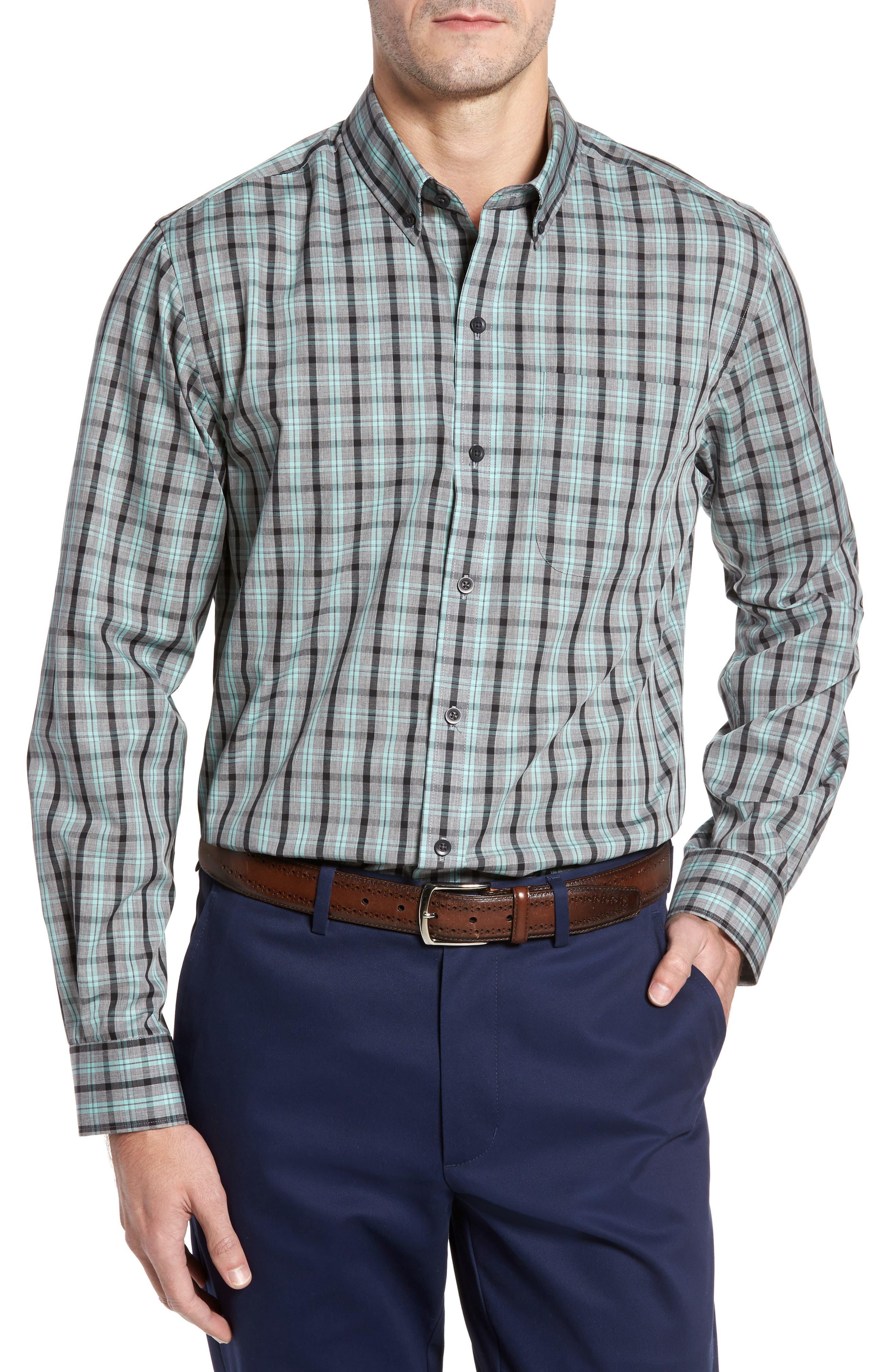 Cutter & Buck Davis Non-Iron Plaid Sport Shirt, Green