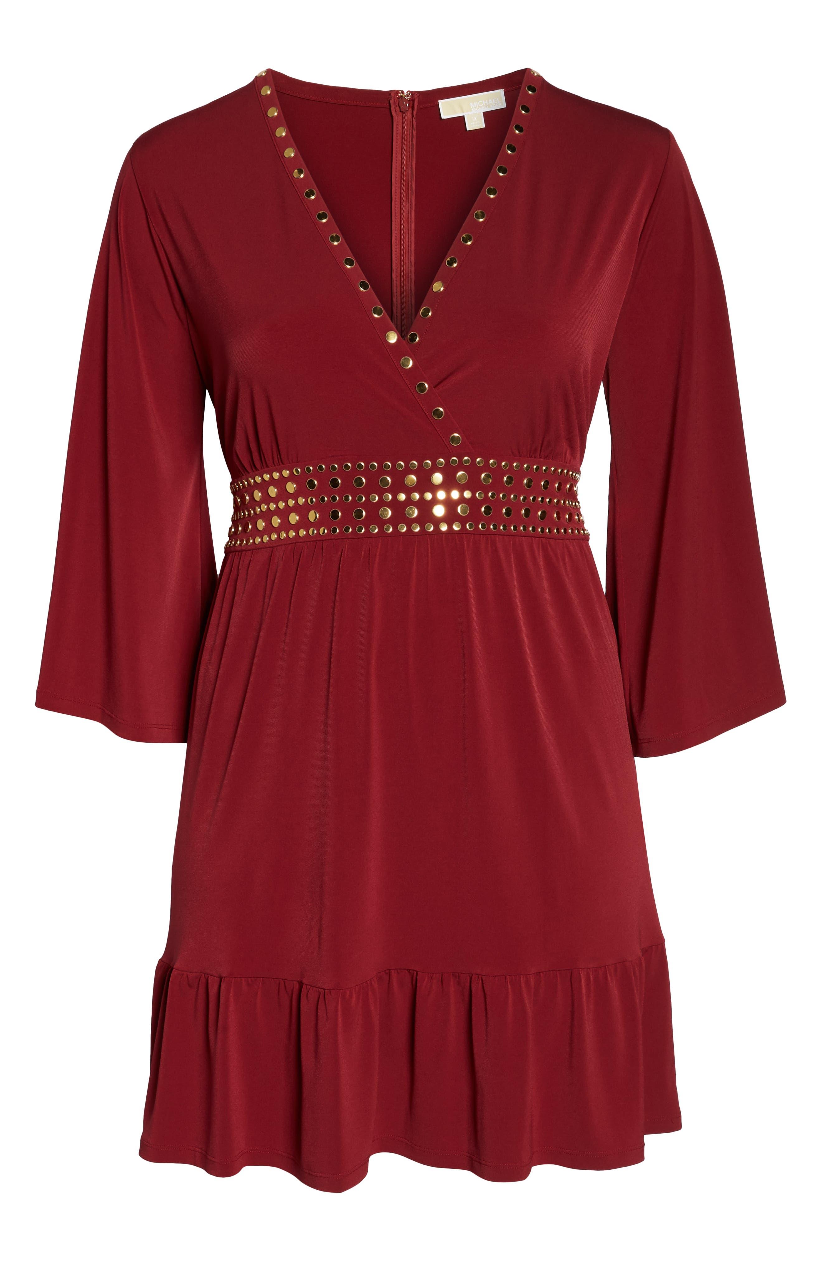 Studded V-Neck Dress,                             Alternate thumbnail 6, color,                             MAROON