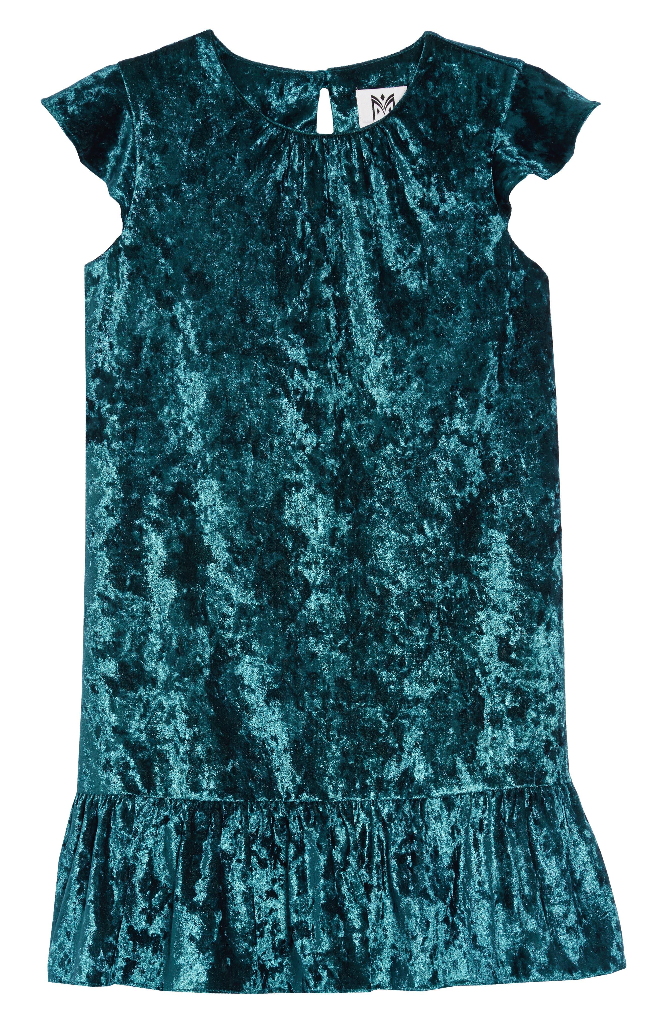 Shay Crushed Velvet Dress,                         Main,                         color, TEAL
