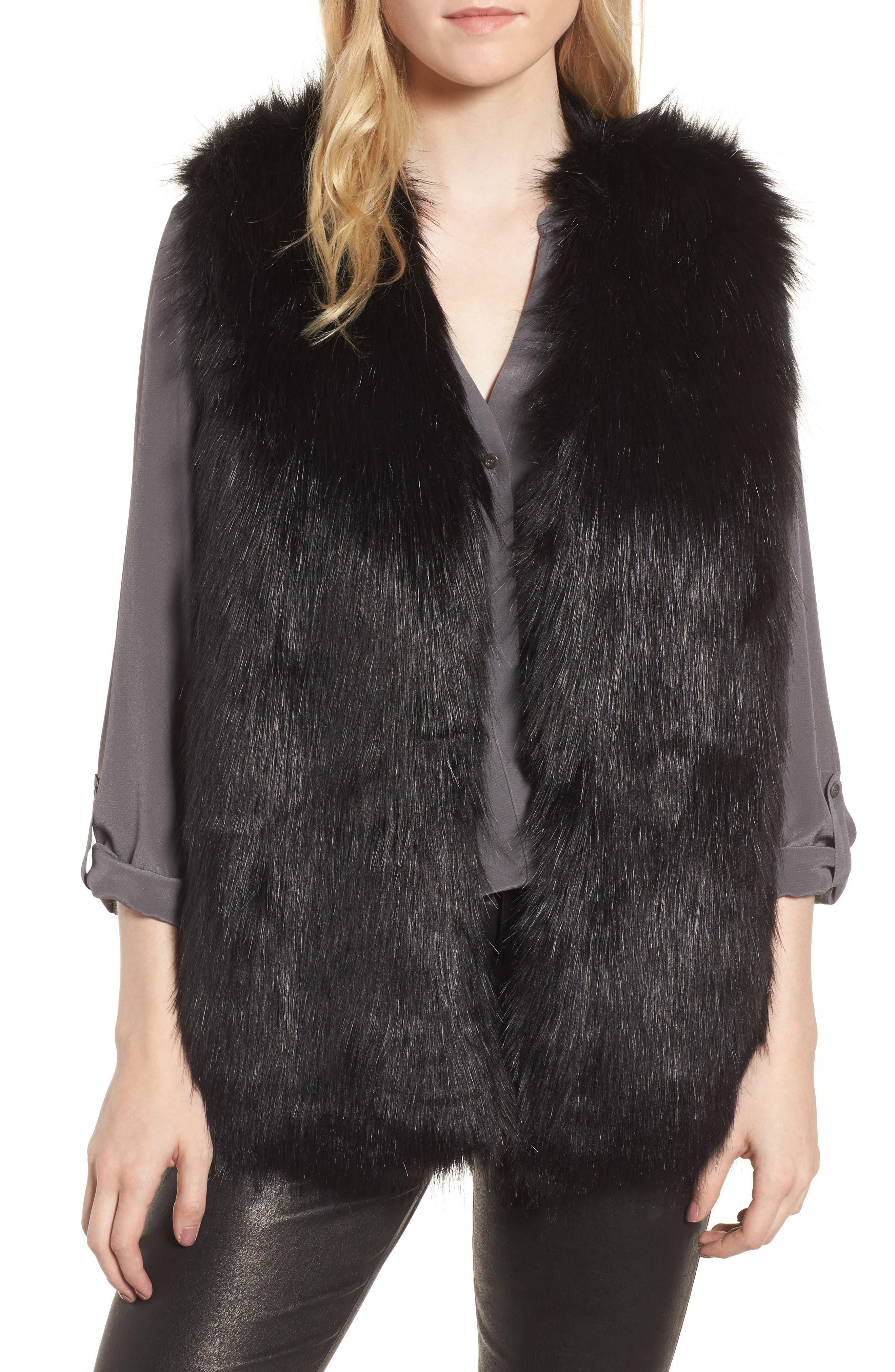 Faux Fur Vest,                             Main thumbnail 1, color,
