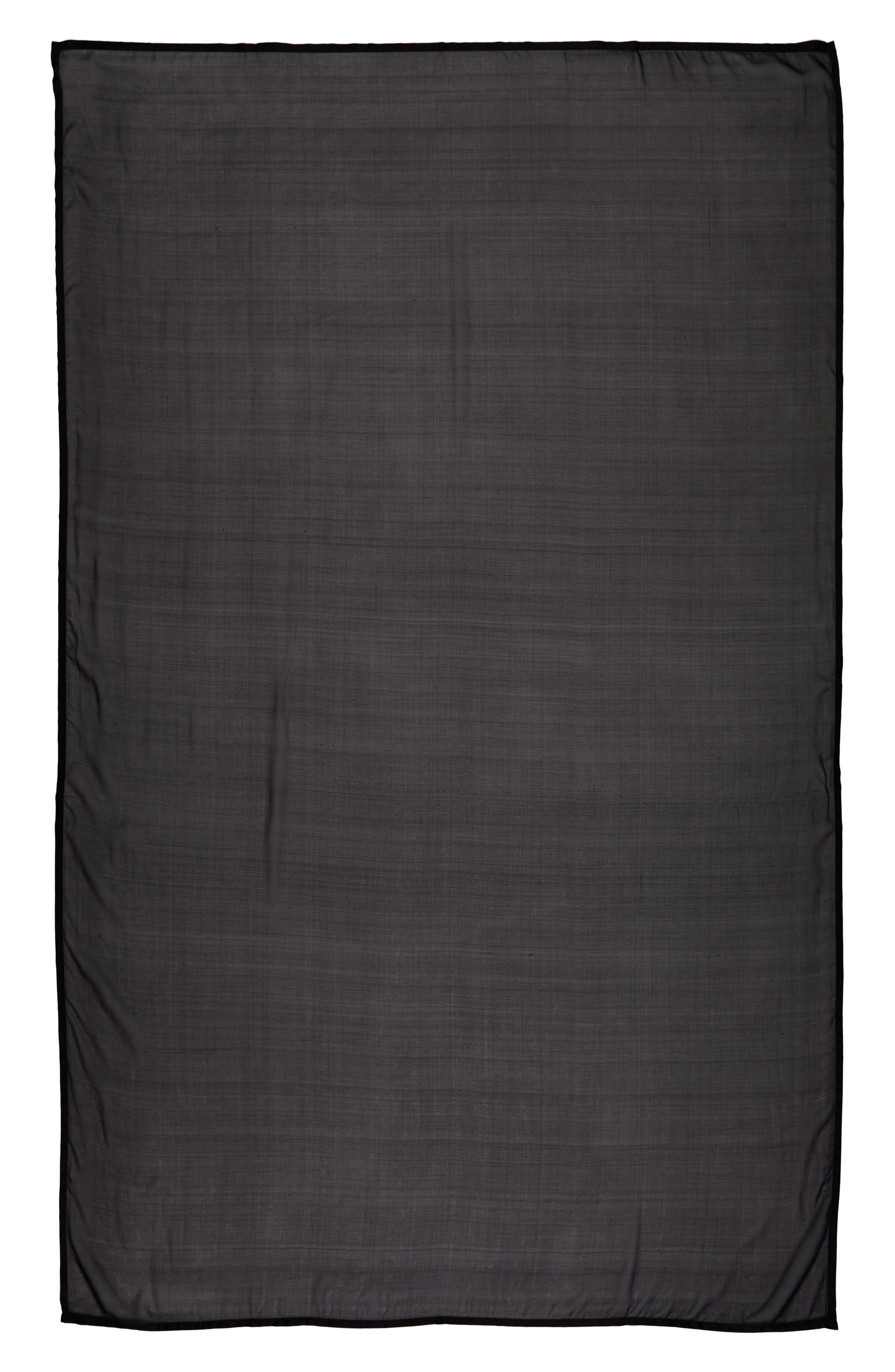 Satin Border Silk Chiffon Scarf,                             Alternate thumbnail 2, color,                             BLACK