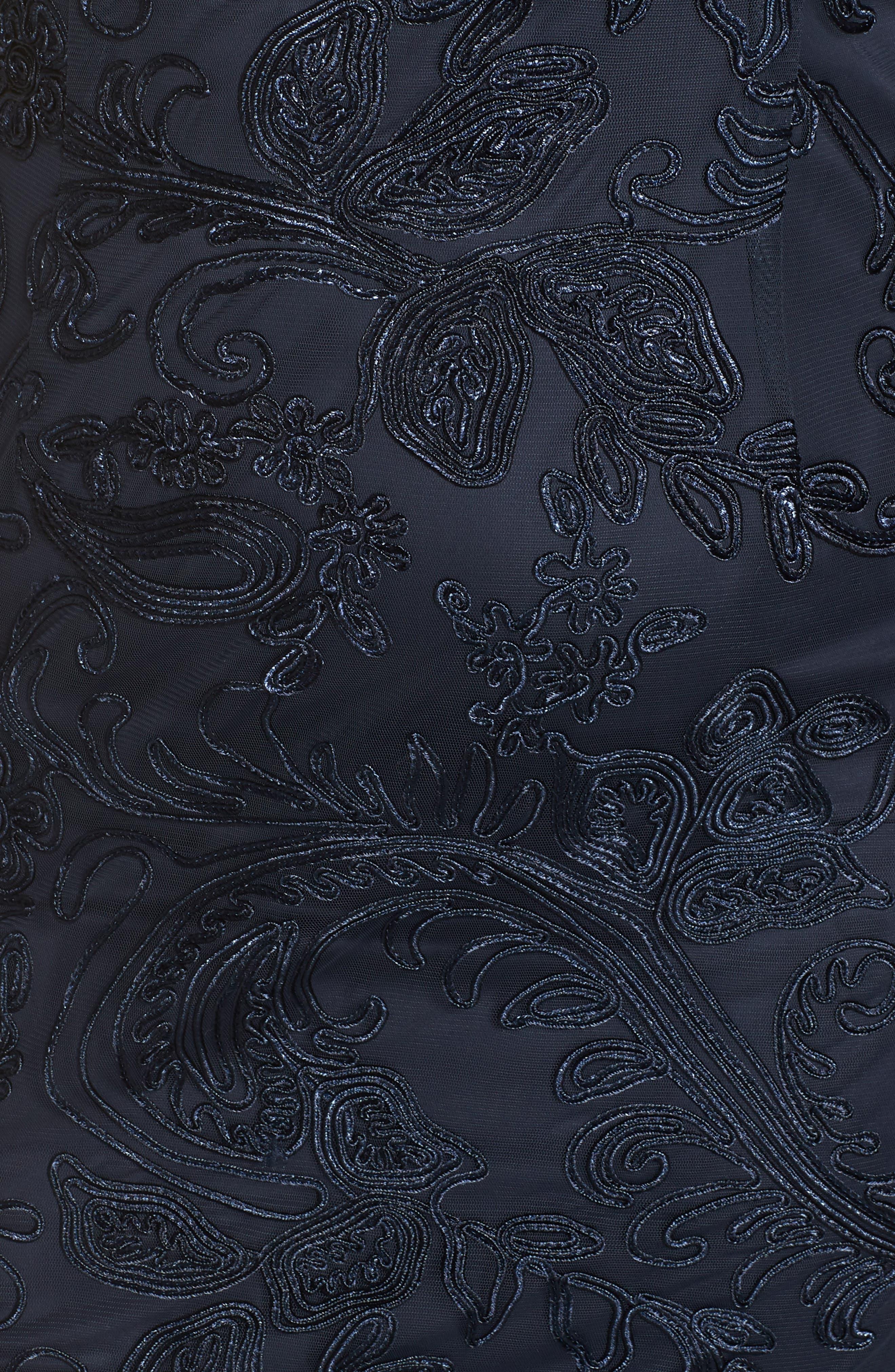 Soutache Lace Gown,                             Alternate thumbnail 7, color,                             NAVY