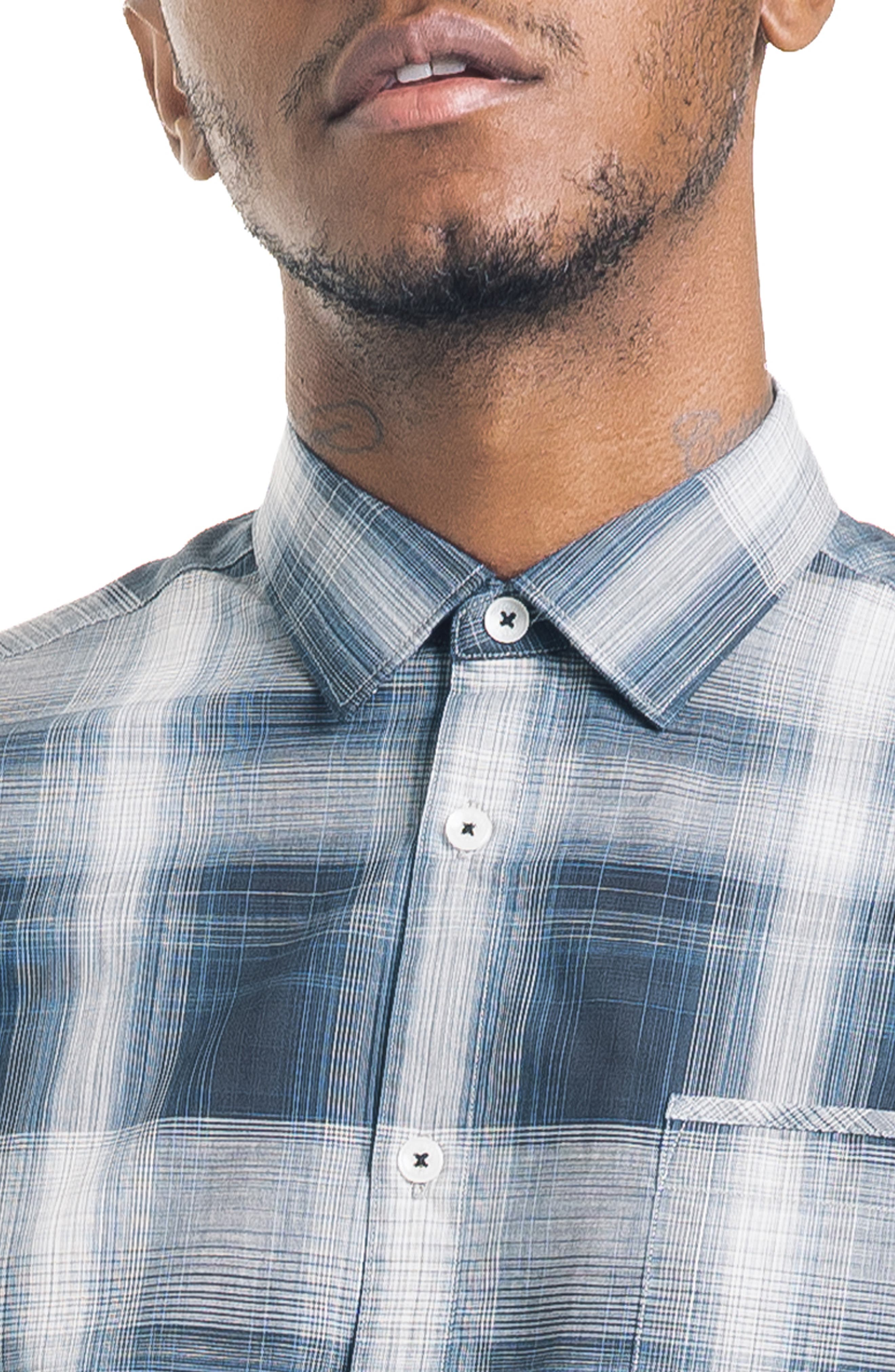 Bonsai Slim Fit Sport Shirt,                             Alternate thumbnail 4, color,                             NAVY