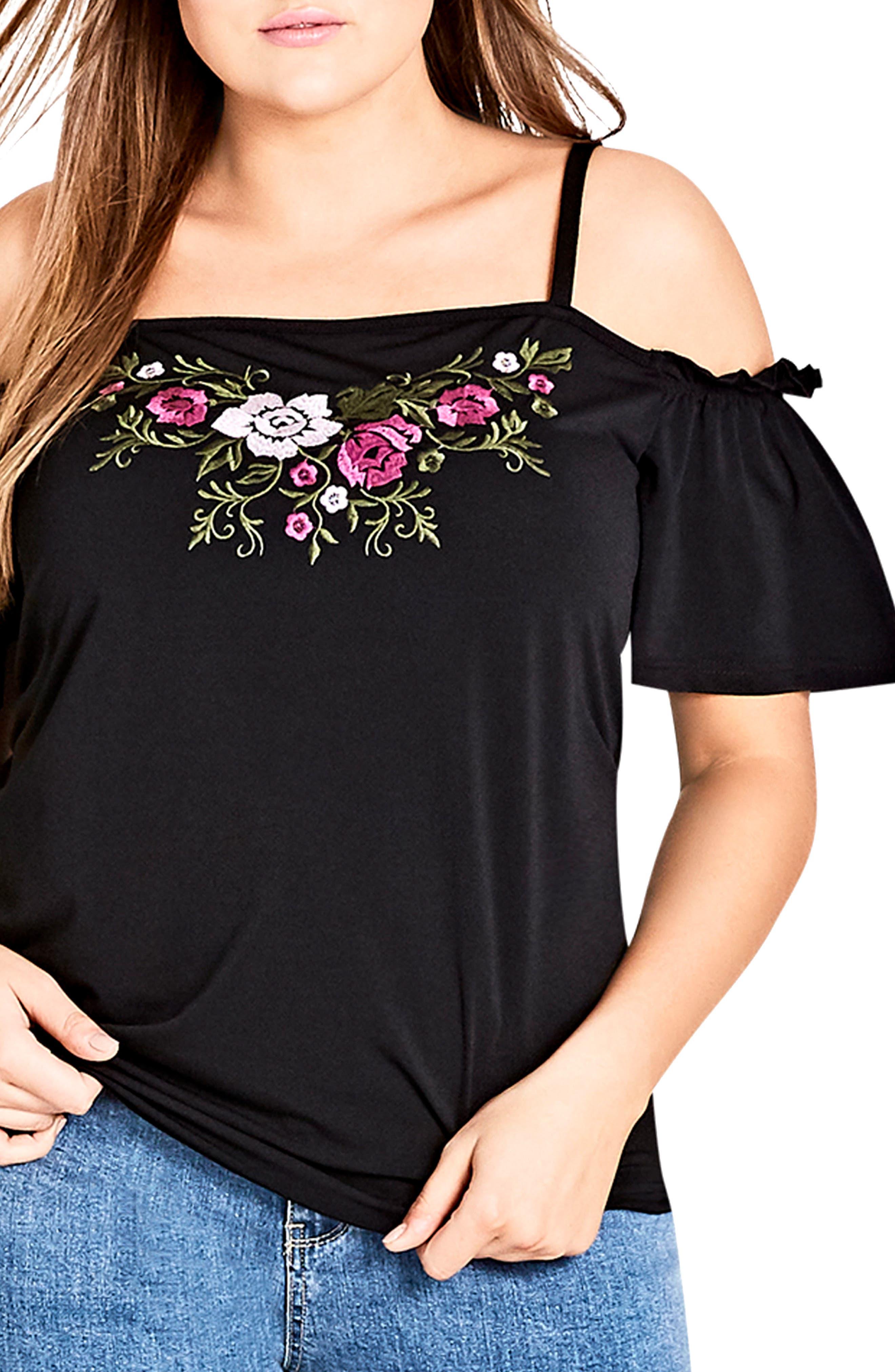 Embroidered Flower Cold Shoulder Top,                         Main,                         color, BLACK
