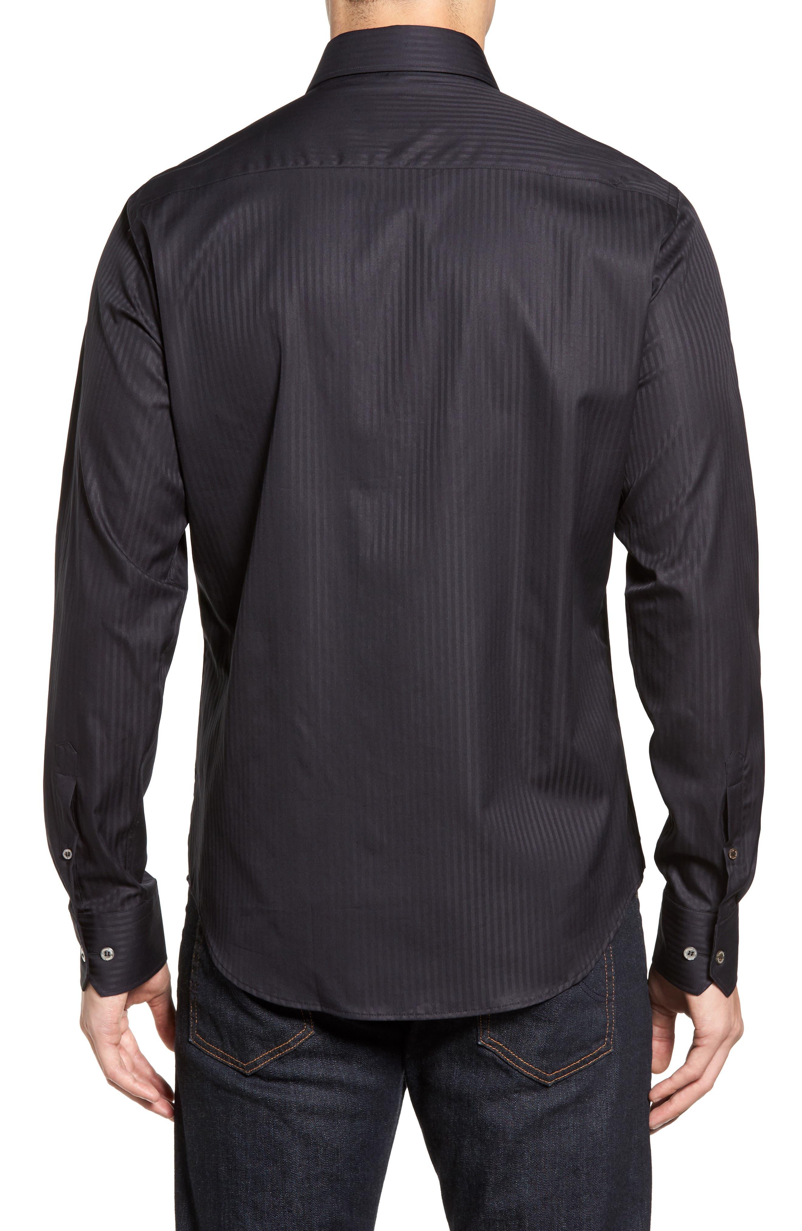 Tonal Stripe Sport Shirt,                             Alternate thumbnail 2, color,                             BLACK