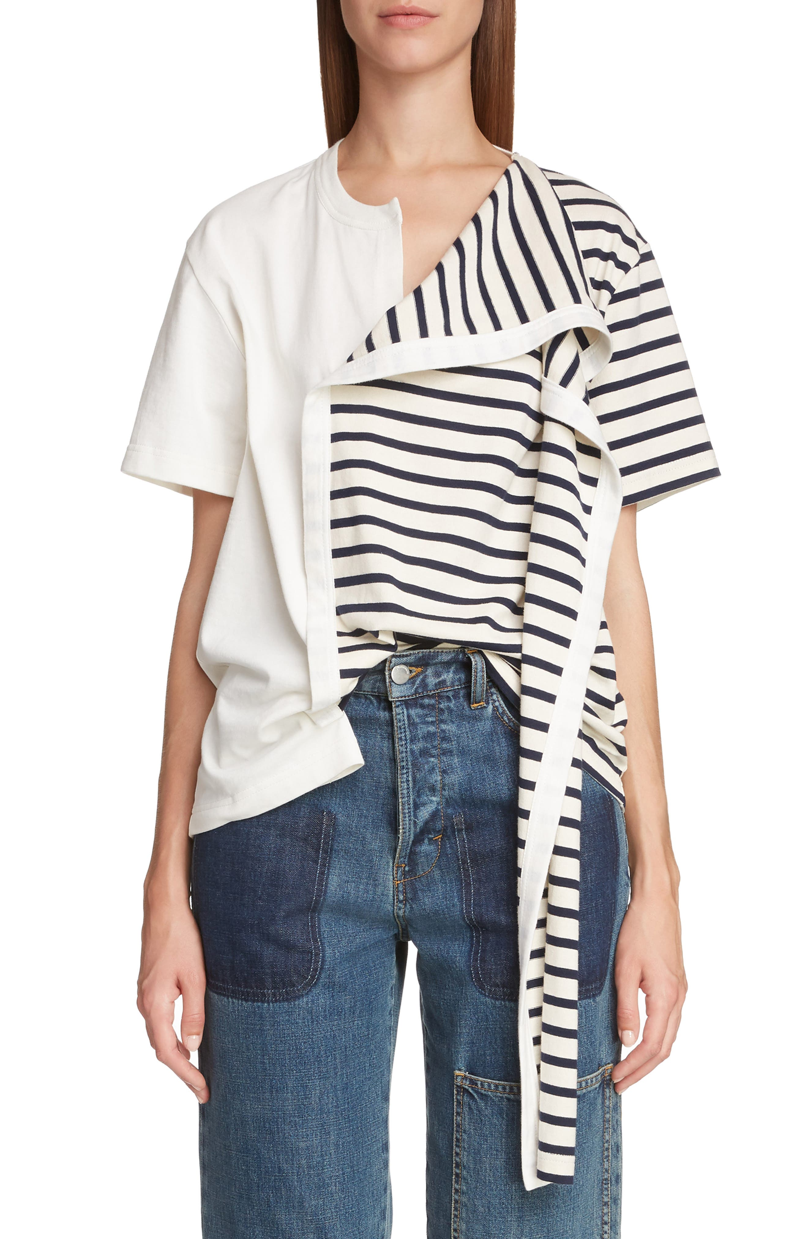 JW ANDERSON Asymmetrical Draped Tee, Main, color, IVORY