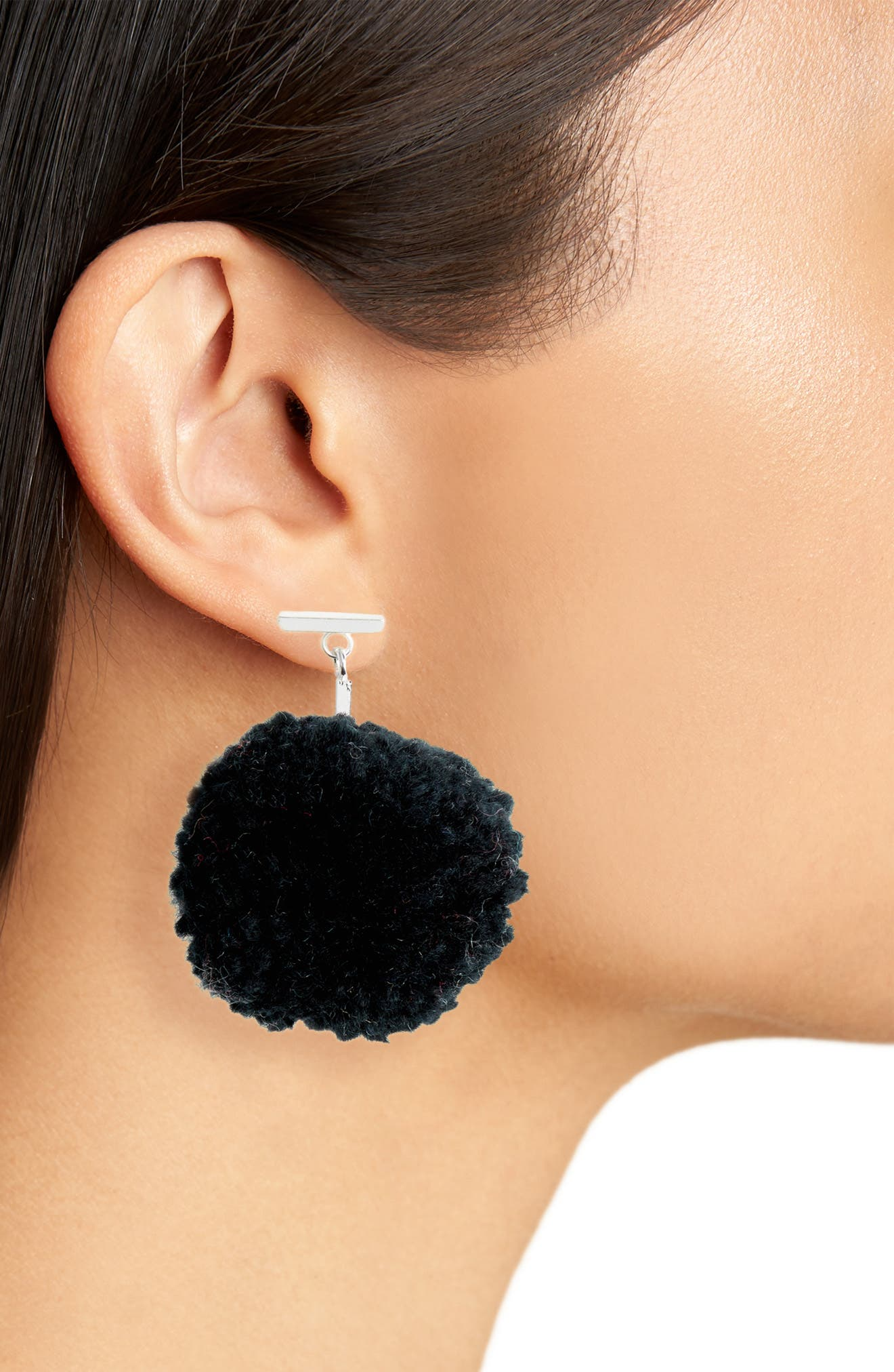 Pompom Drop Earrings,                             Alternate thumbnail 2, color,                             001