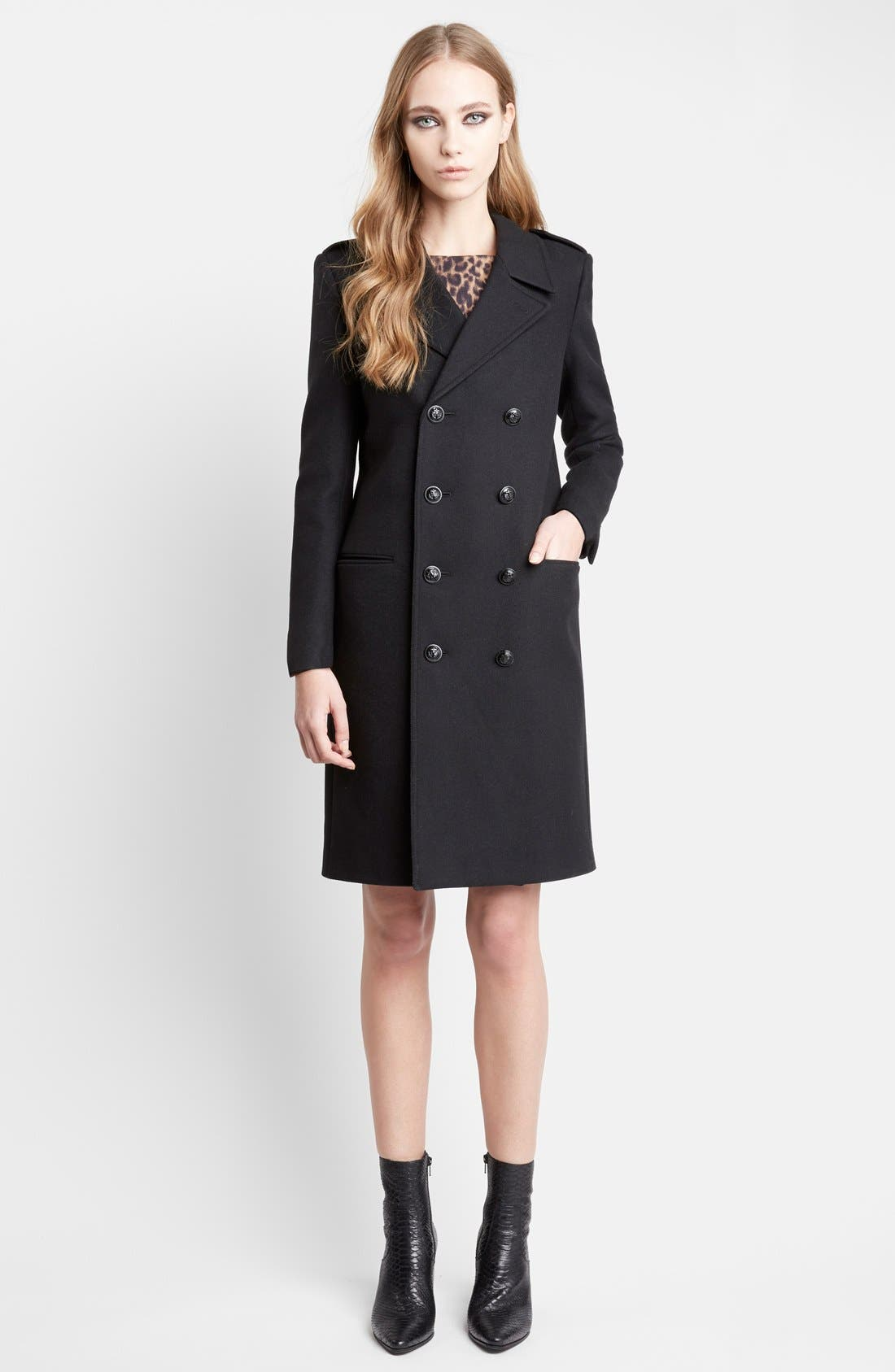Double Breasted Wool Chesterfield Coat,                             Alternate thumbnail 2, color,                             001