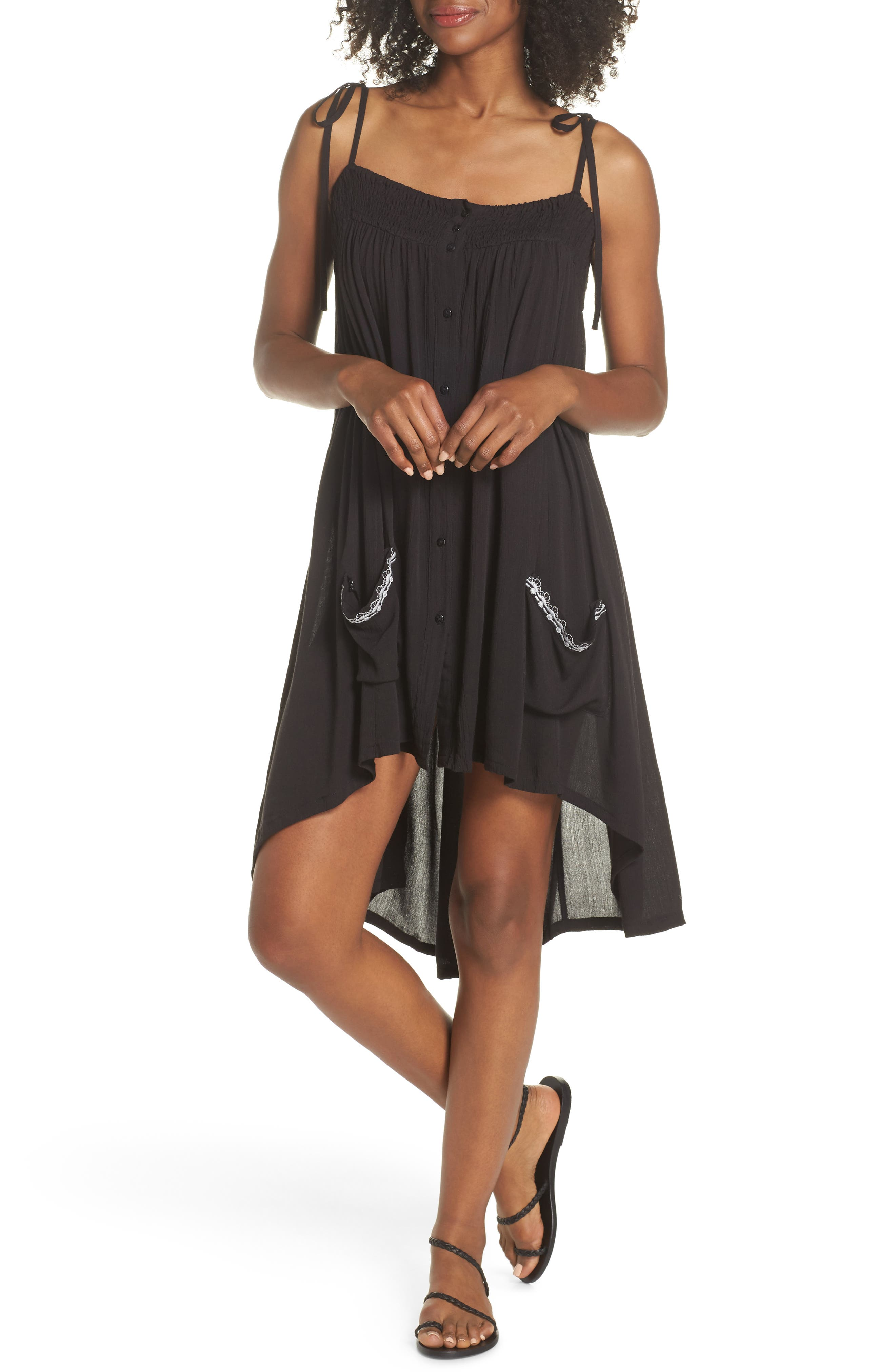 Olivia Cover-Up Dress,                         Main,                         color, BLACK/ SILVER