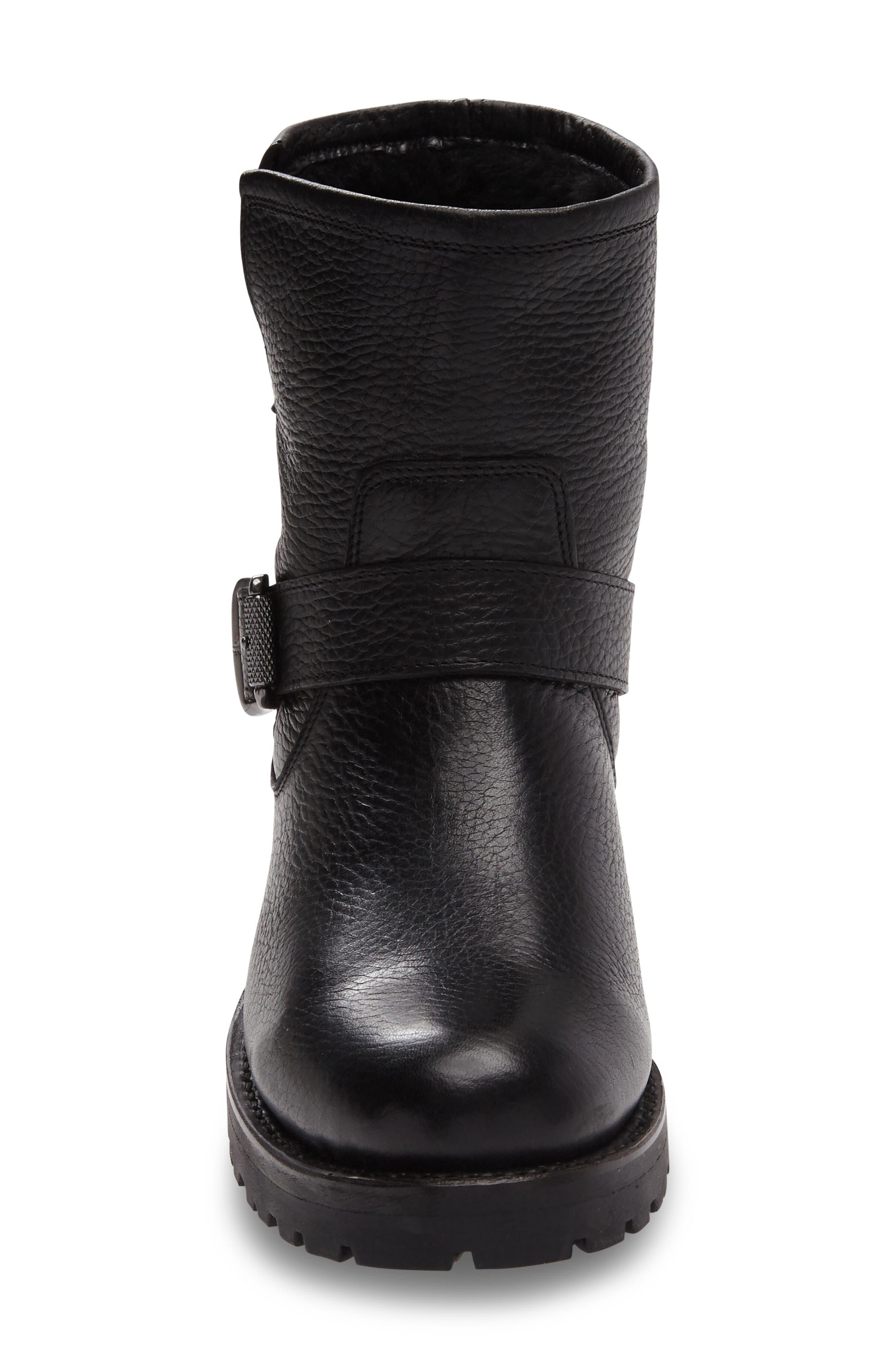 Natalie Genuine Shearling Water Resistant Engineer Boot,                             Alternate thumbnail 3, color,                             001