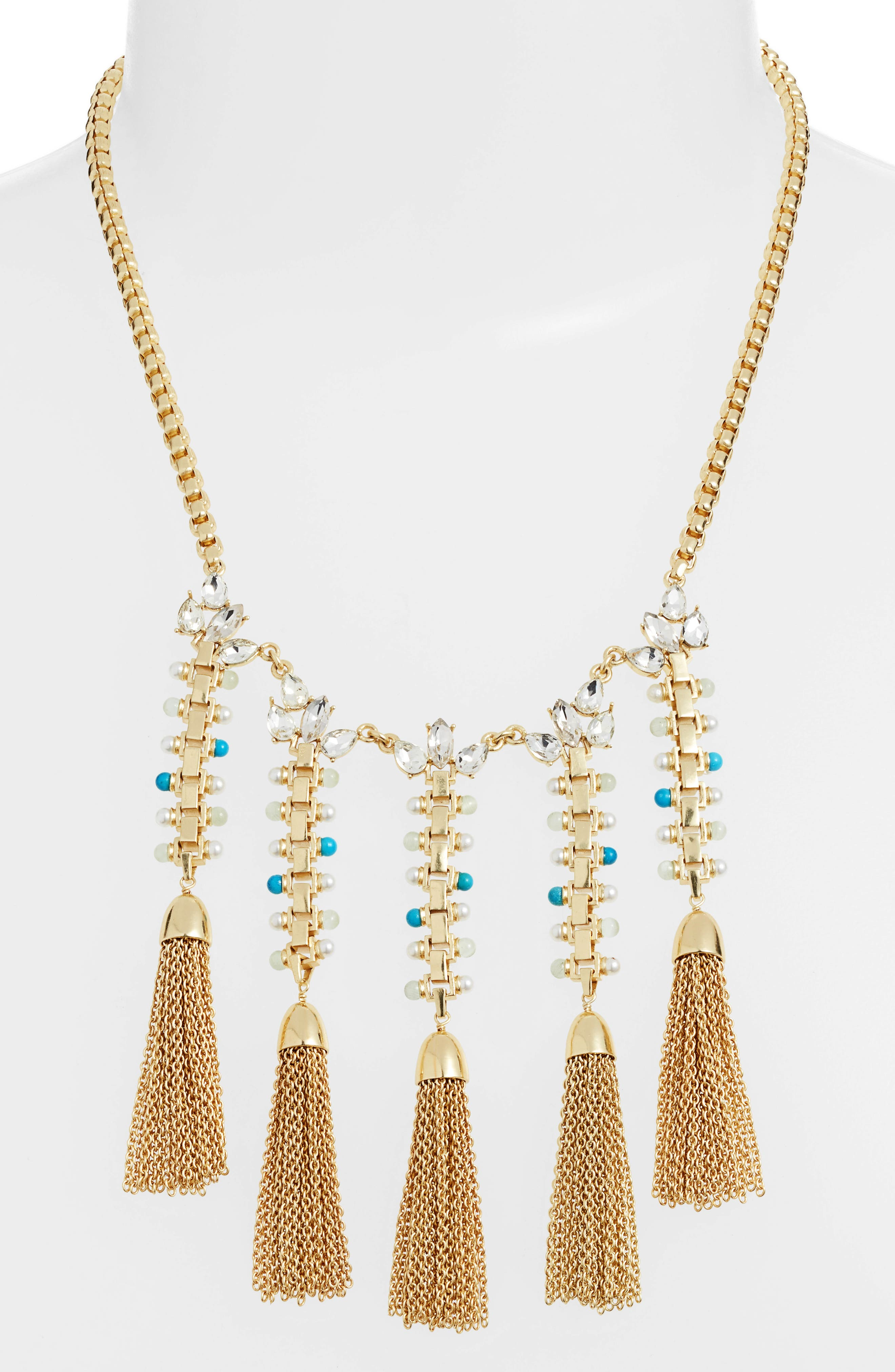 Fringe Statement Necklace,                             Alternate thumbnail 2, color,                             GOLD/ IVORY PEARL