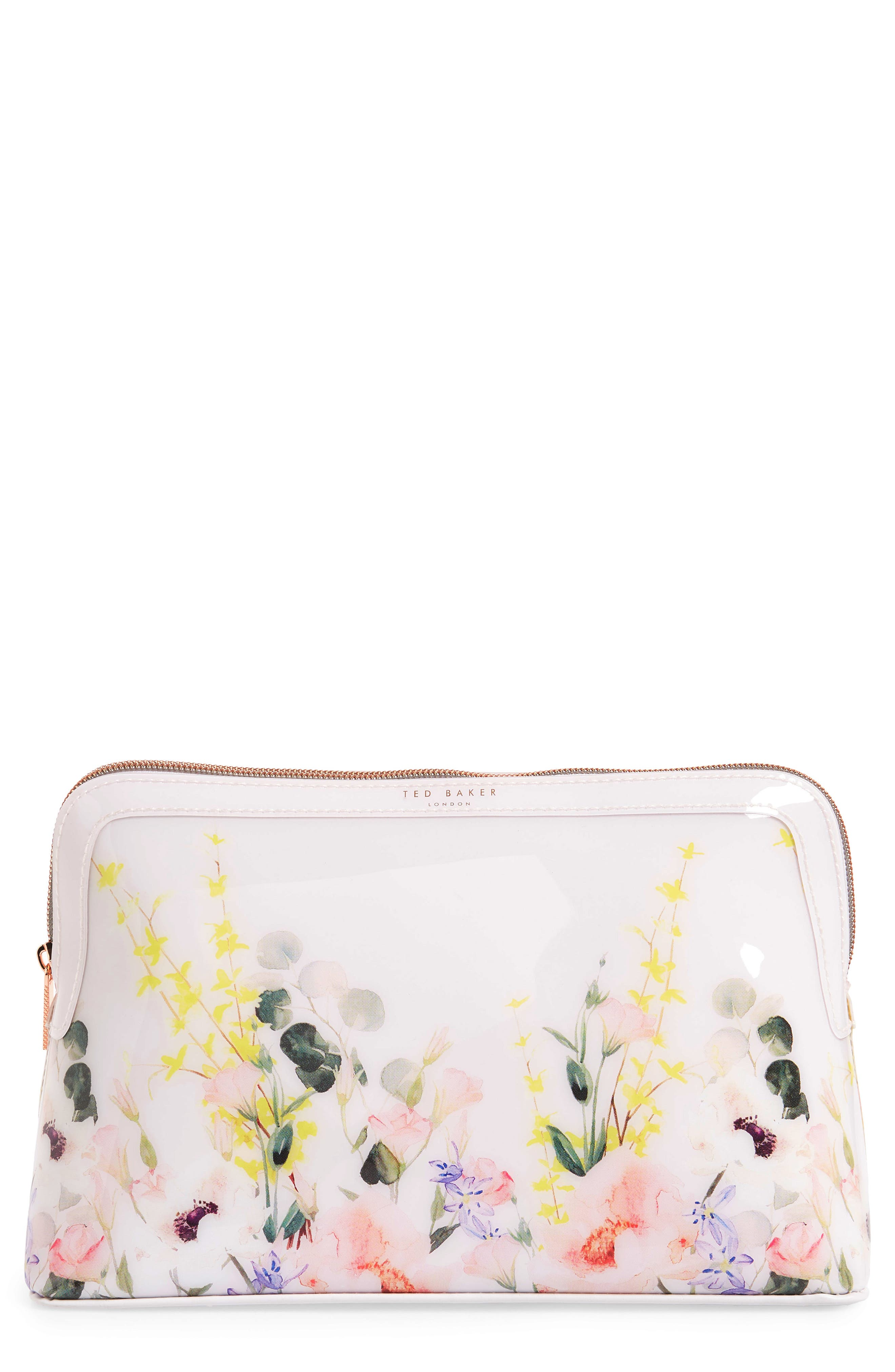 TED BAKER LONDON,                             Sybill Print Large Cosmetics Case,                             Main thumbnail 1, color,                             NUDE PINK