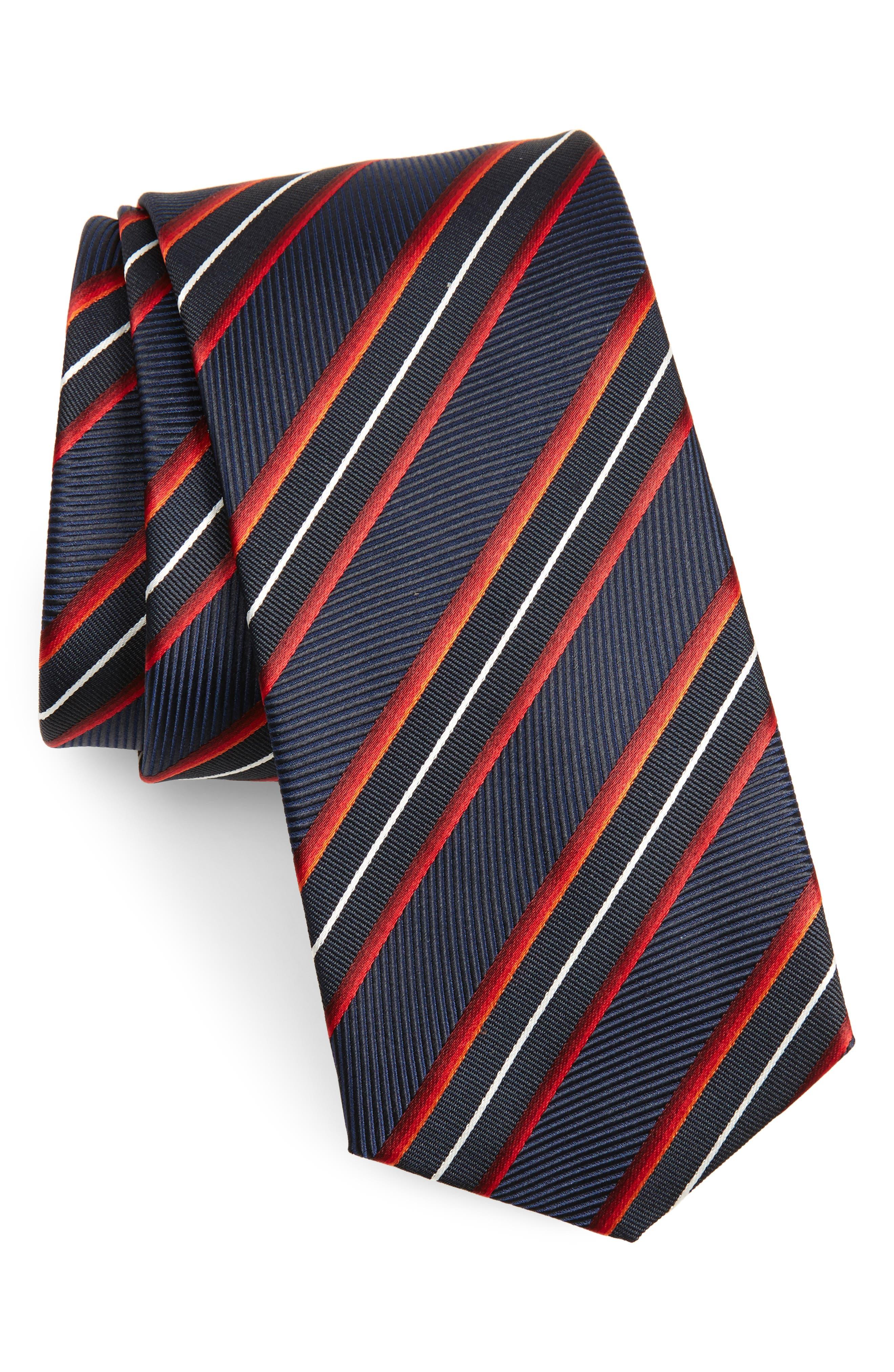 Diagonal Stripe Silk Tie,                         Main,                         color, 613