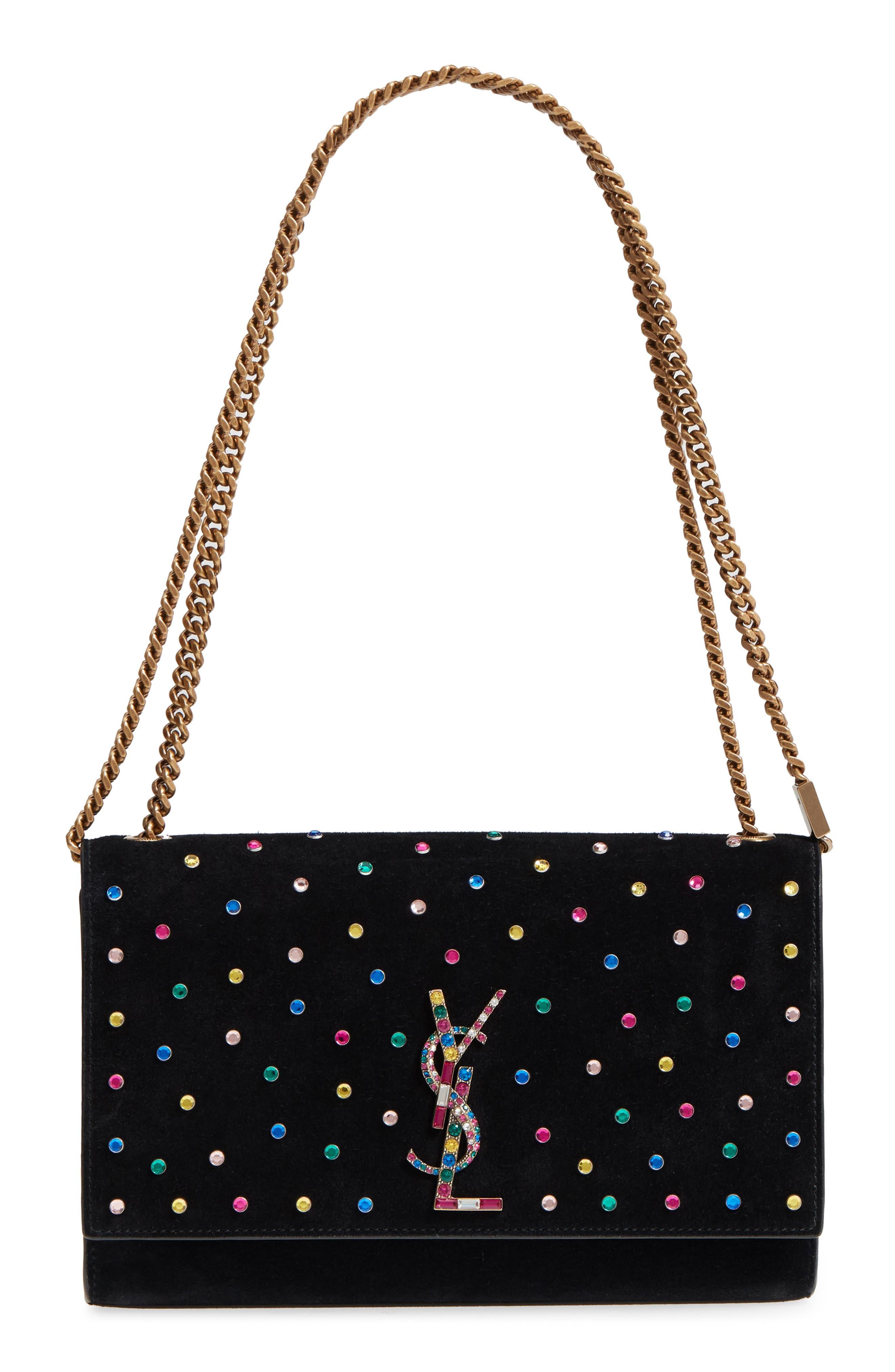Medium Kate Embellished Suede Shoulder Bag,                             Main thumbnail 1, color,                             1077 MULTI