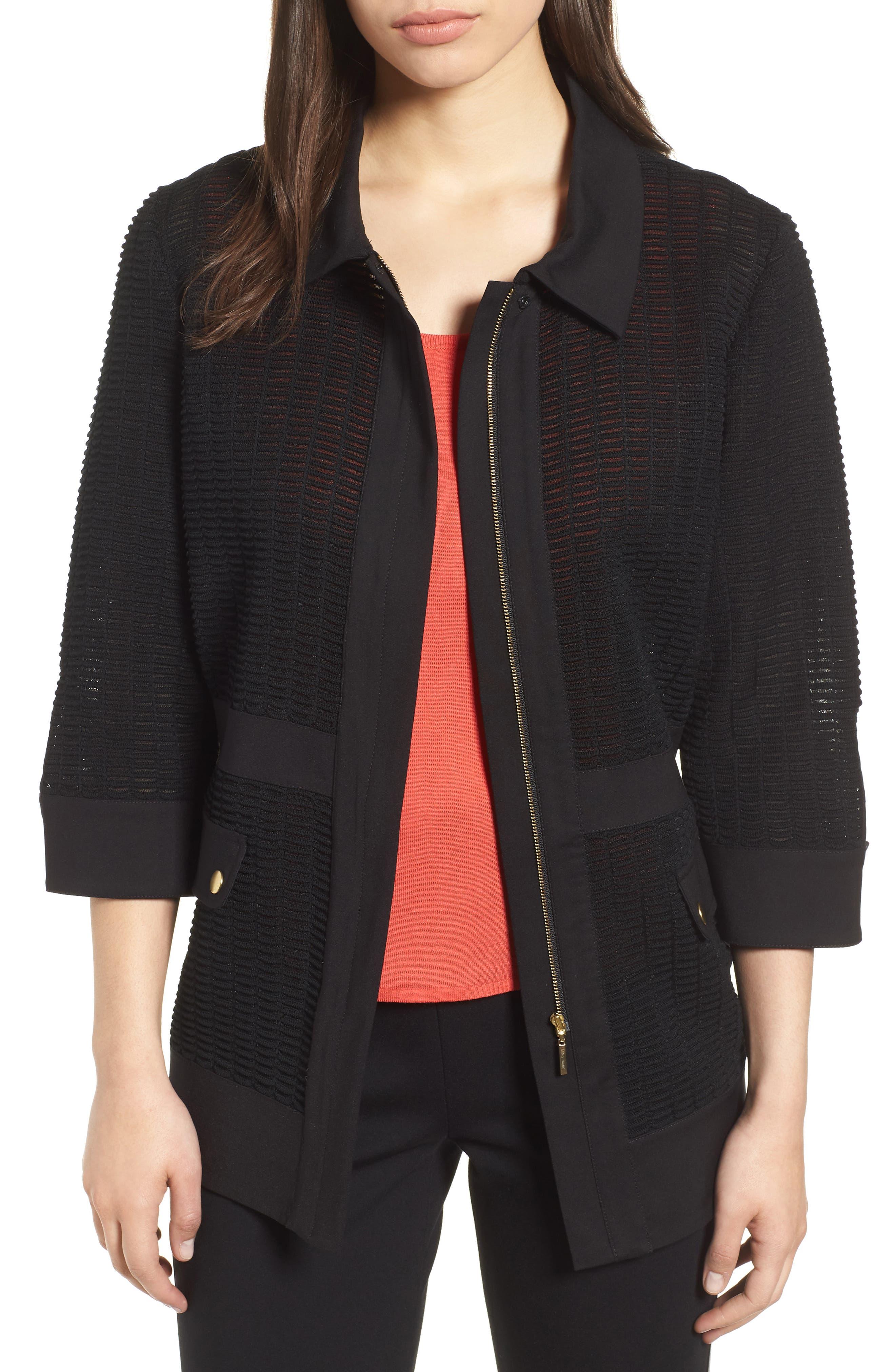 Jacquard Jacket,                         Main,                         color, BLACK