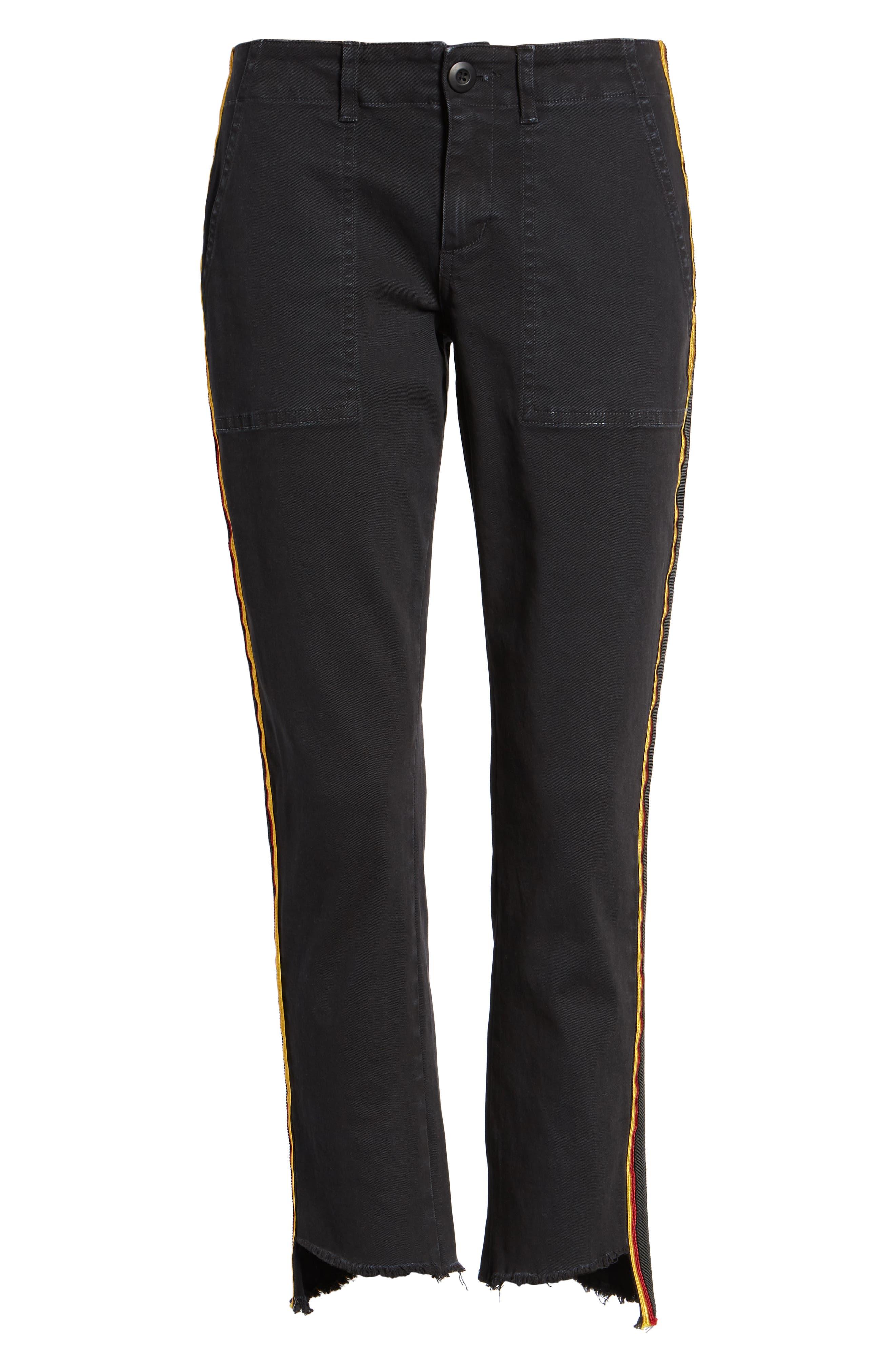 Uniform Stripe Step Hem Pants,                             Alternate thumbnail 7, color,                             VINTAGE BLACK