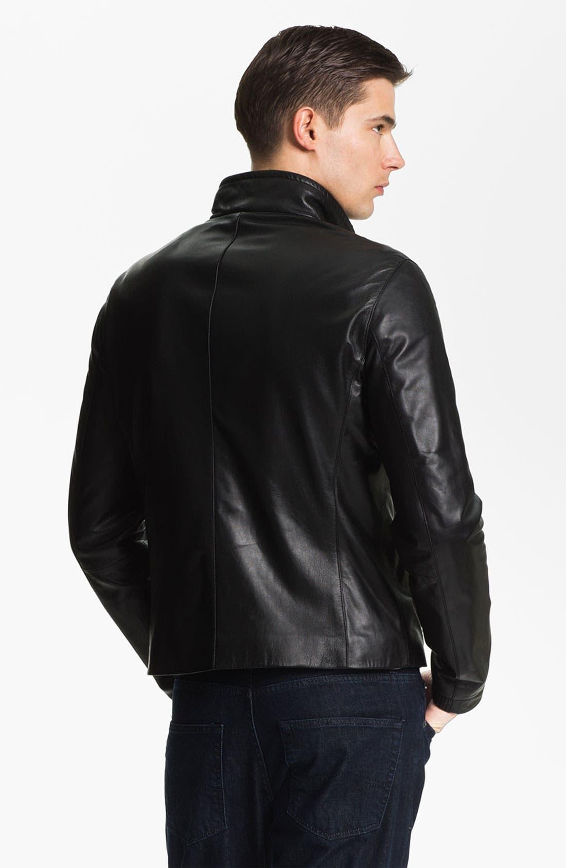 EMPORIO ARMANI,                             Armani Collezioni Blouson Leather Jacket,                             Alternate thumbnail 6, color,                             001