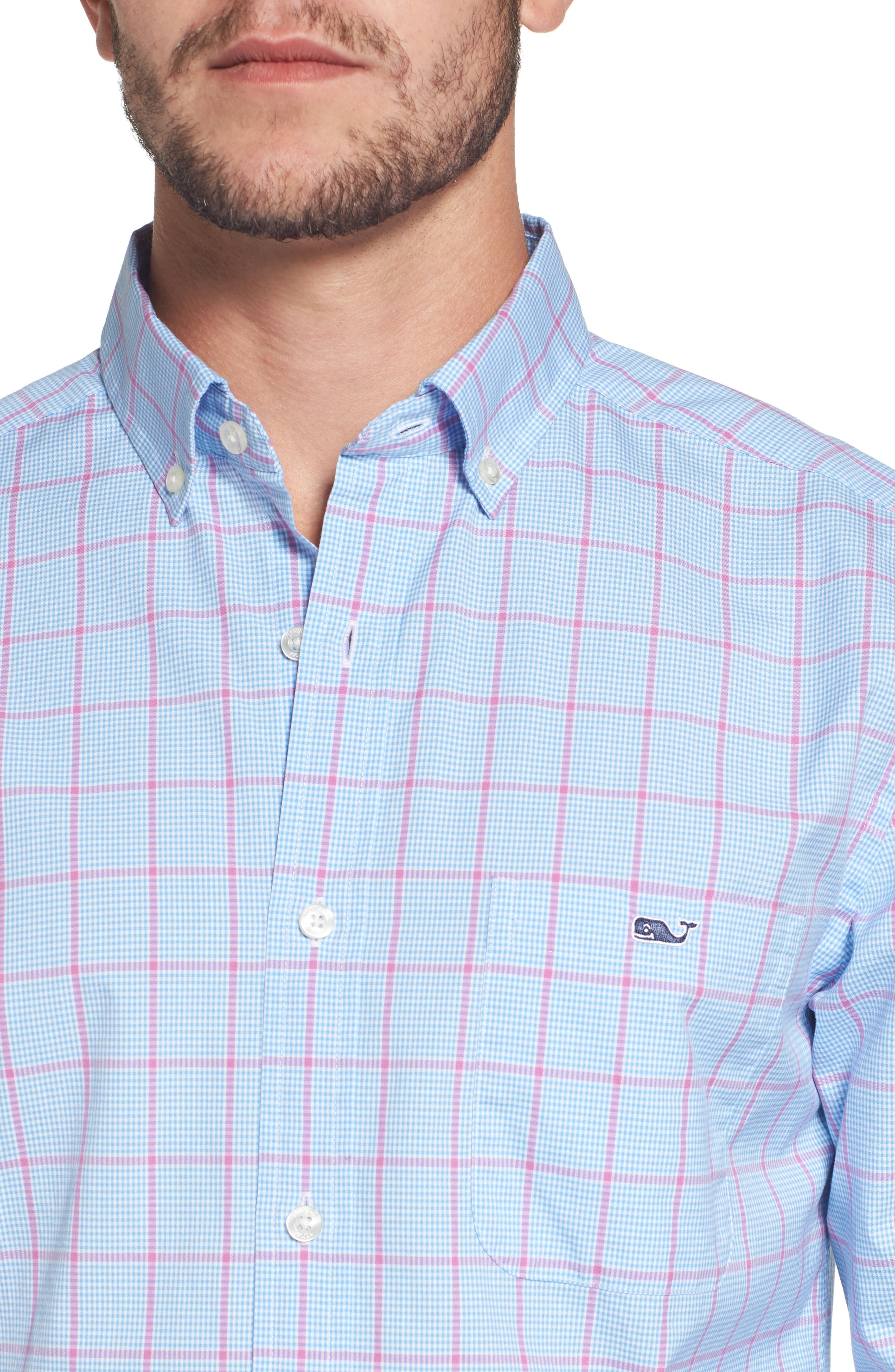 Murray Slim Fit Inlet Check Sport Shirt,                             Alternate thumbnail 4, color,                             438