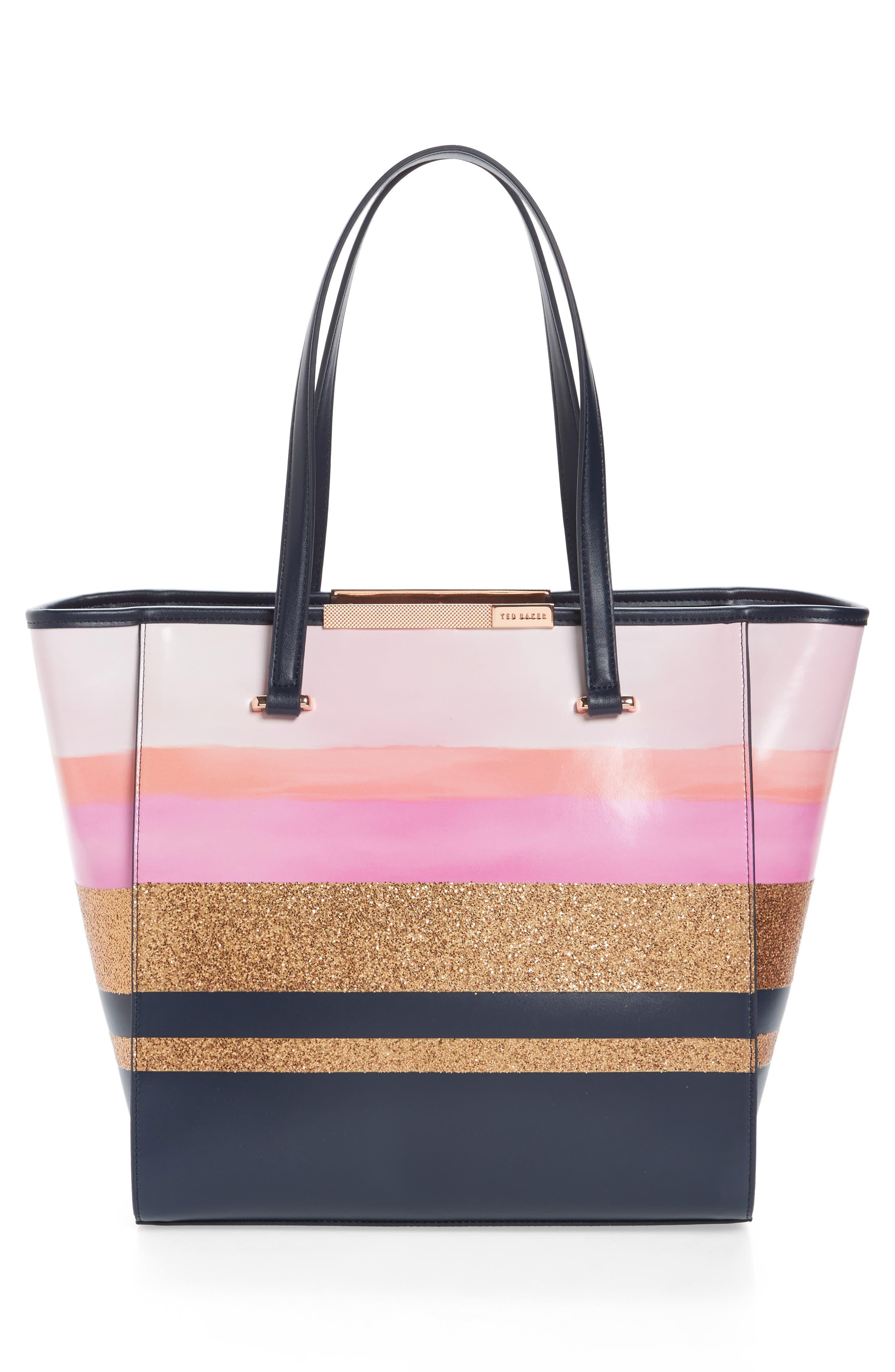 Large Glitter Stripe Shopper,                             Alternate thumbnail 3, color,                             410