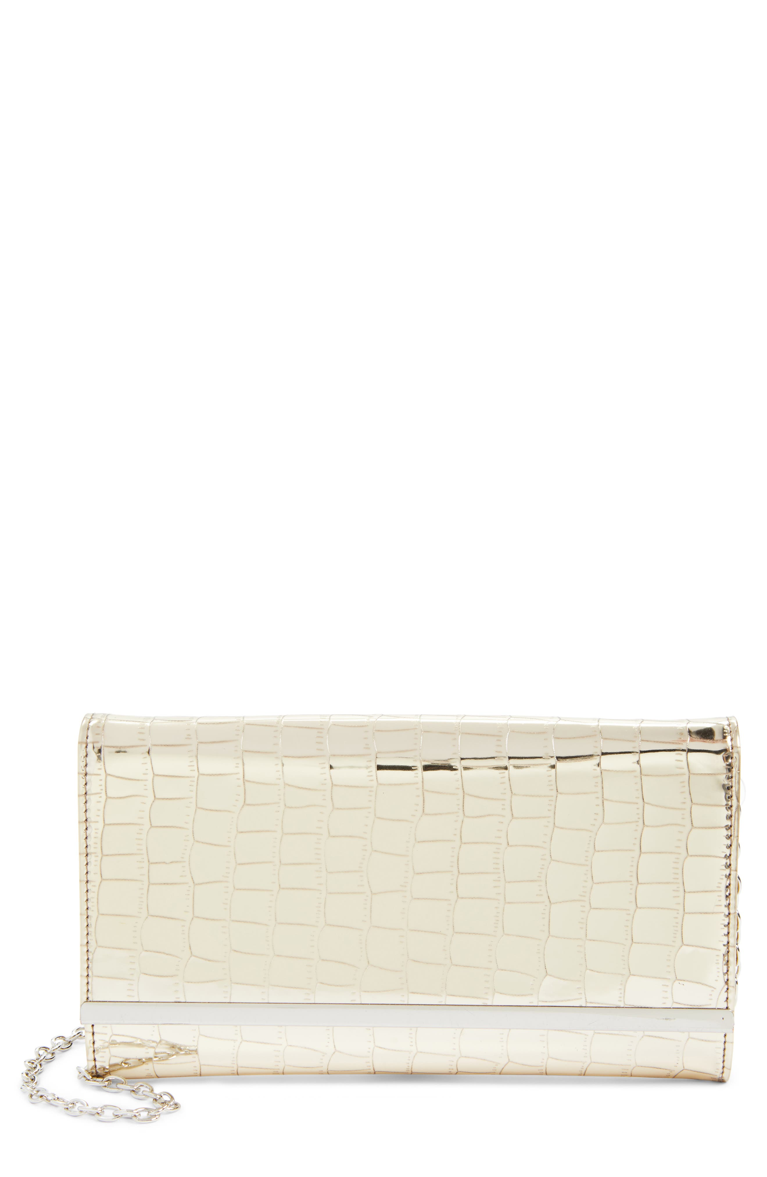 Metallic Croc-Embossed Faux Leather Clutch,                             Main thumbnail 1, color,                             042