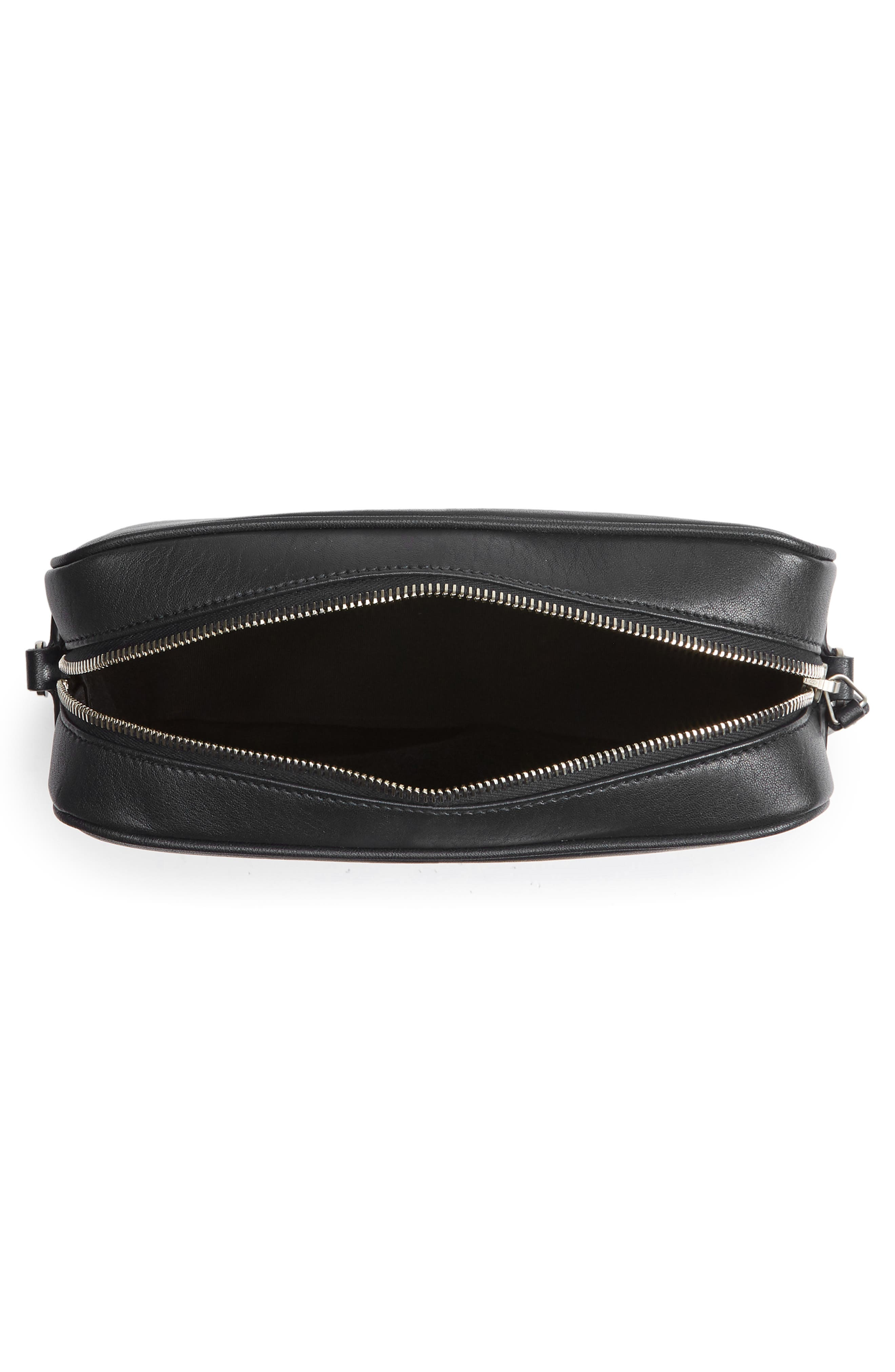Small Mono Leather Camera Bag,                             Alternate thumbnail 3, color,                             NERO