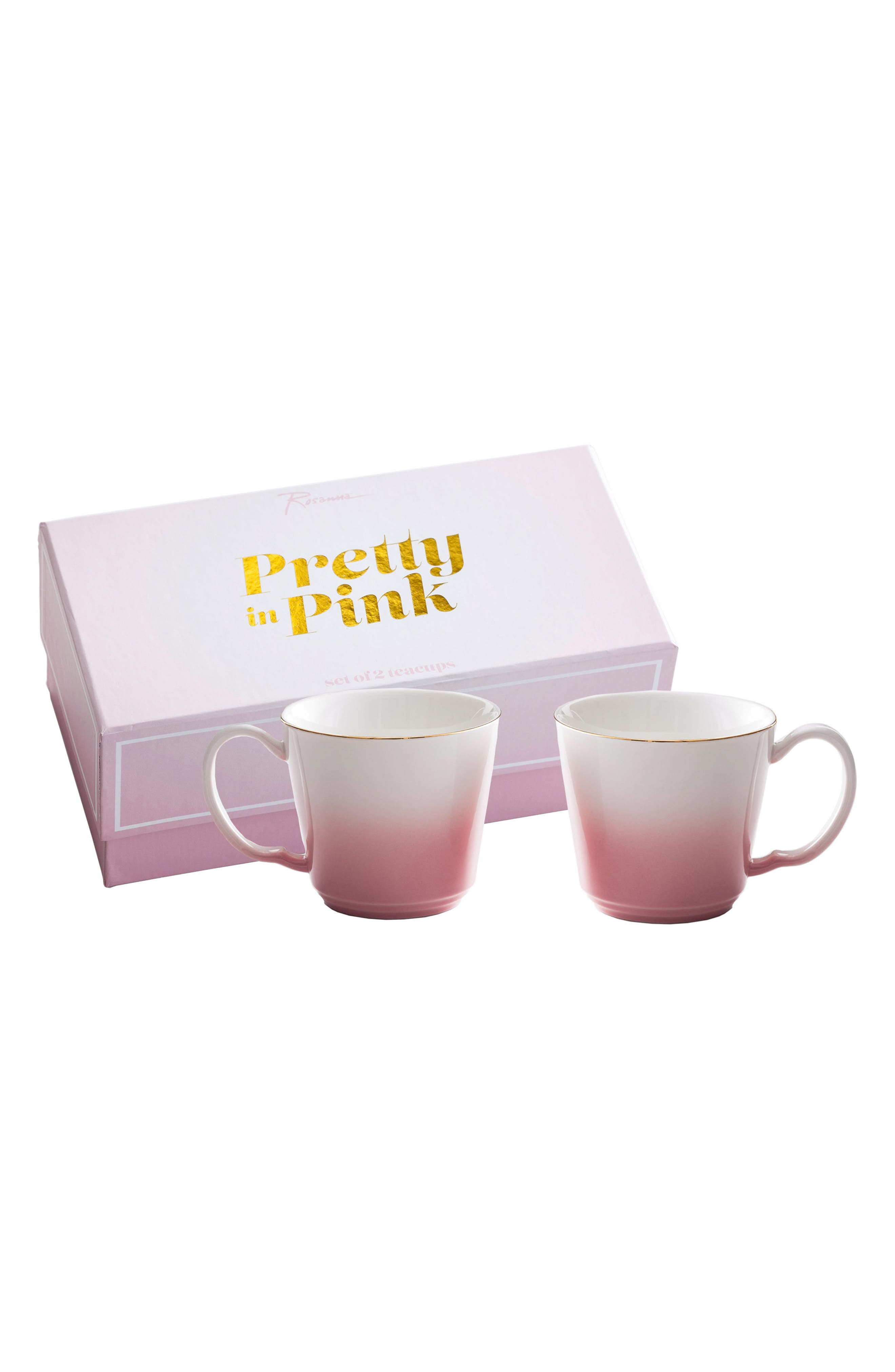 Pretty In Pink Set of 2 Porcelain Teacups,                             Main thumbnail 1, color,                             650