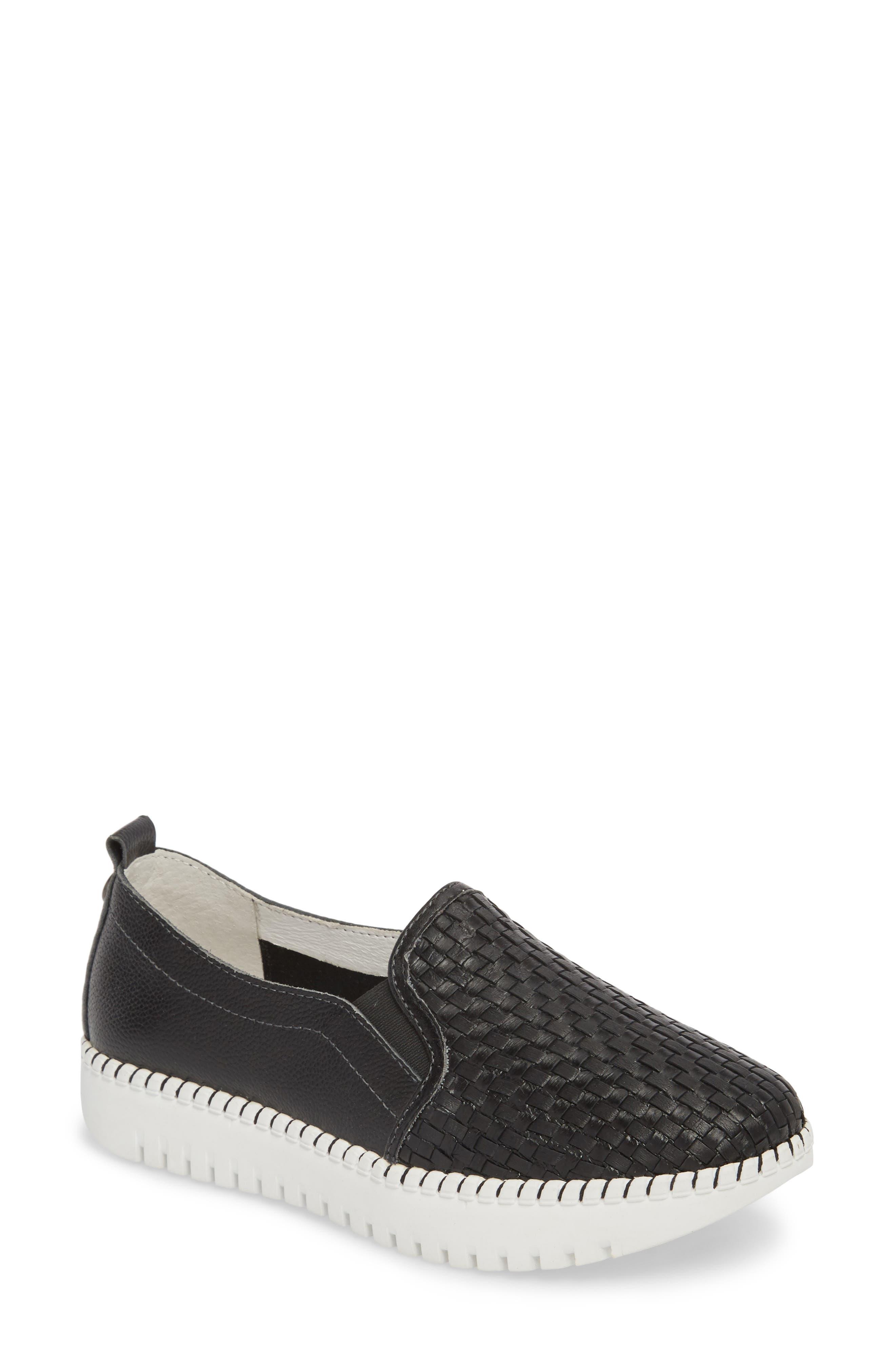 Stretch Woven Platform Sneaker,                             Main thumbnail 1, color,                             BLACK LEATHER