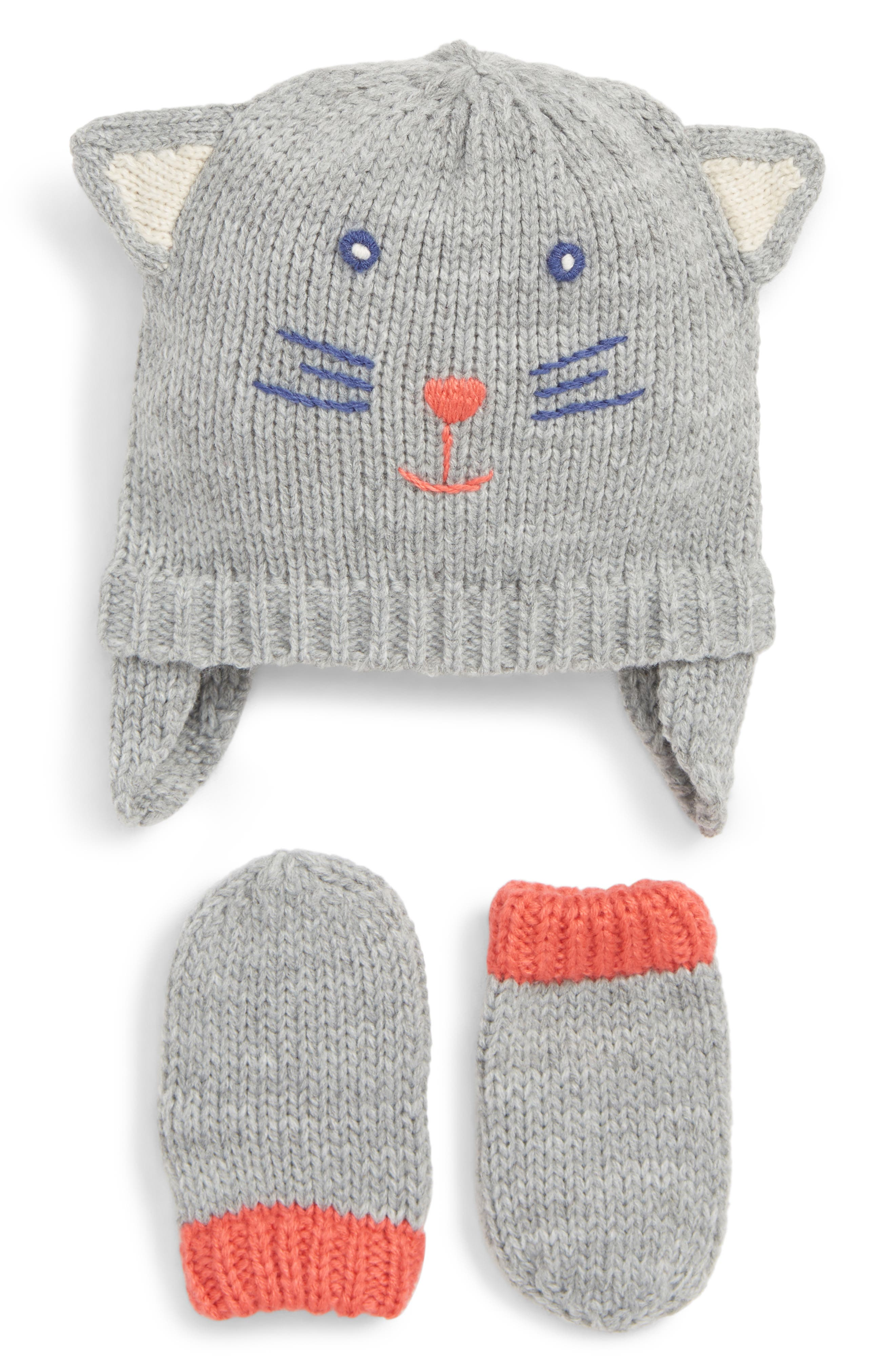 Mini Boden Cat Hat & Mitten Set,                             Main thumbnail 1, color,                             GREY MARL