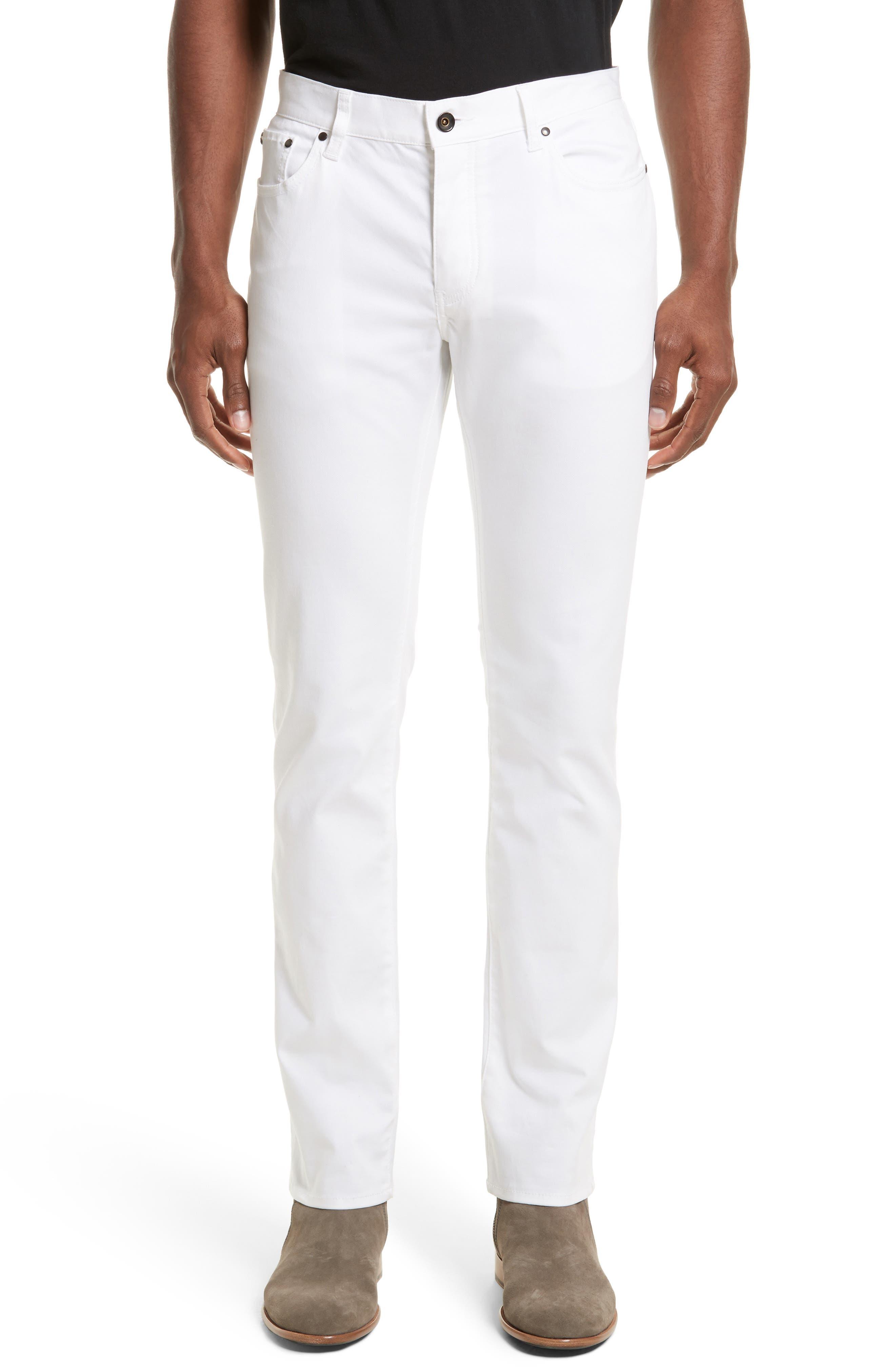 Slim Fit Five Pocket Pants,                             Main thumbnail 1, color,                             WHITE