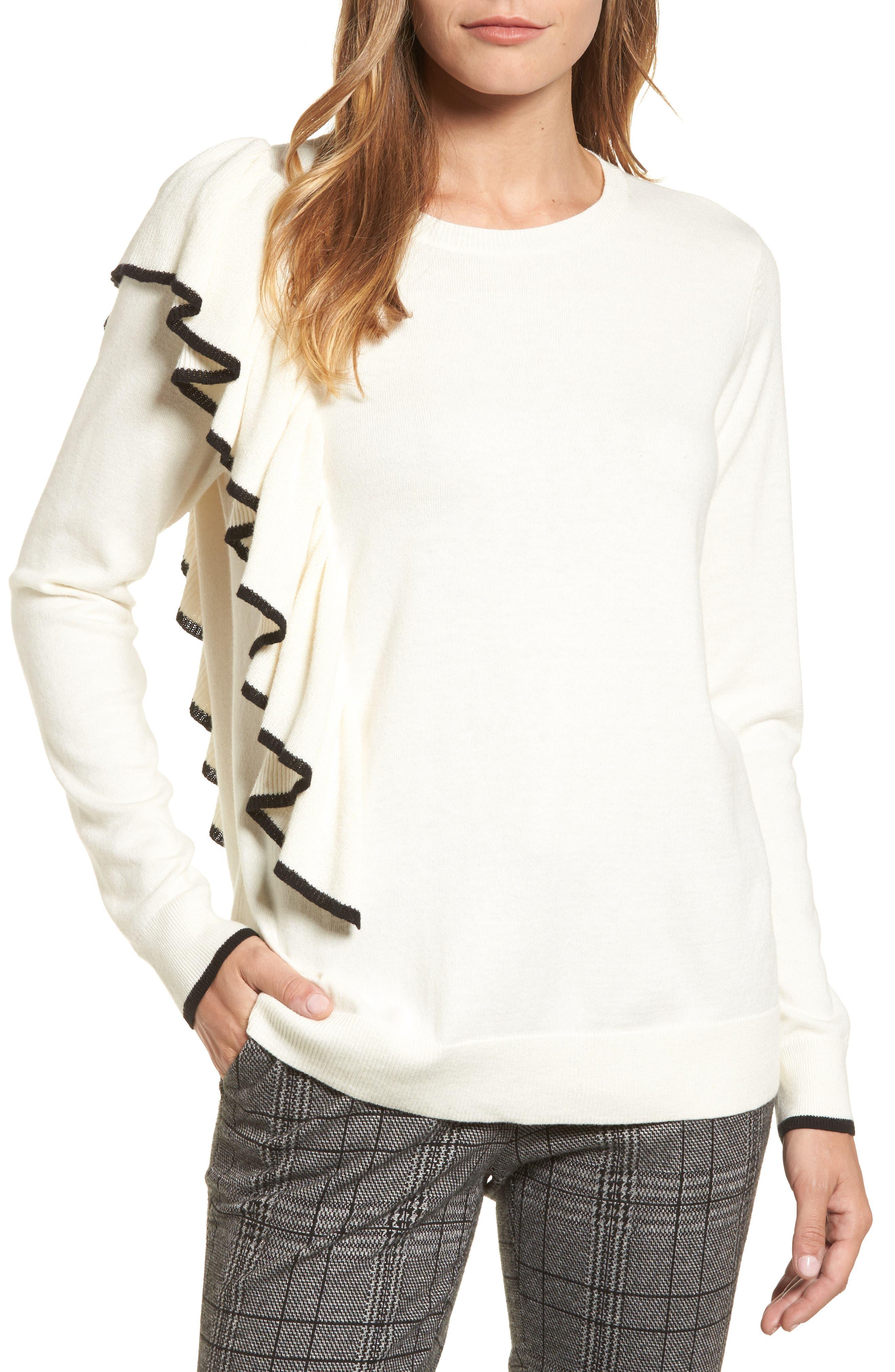 Asymmetrical Ruffle Sweater,                             Main thumbnail 3, color,