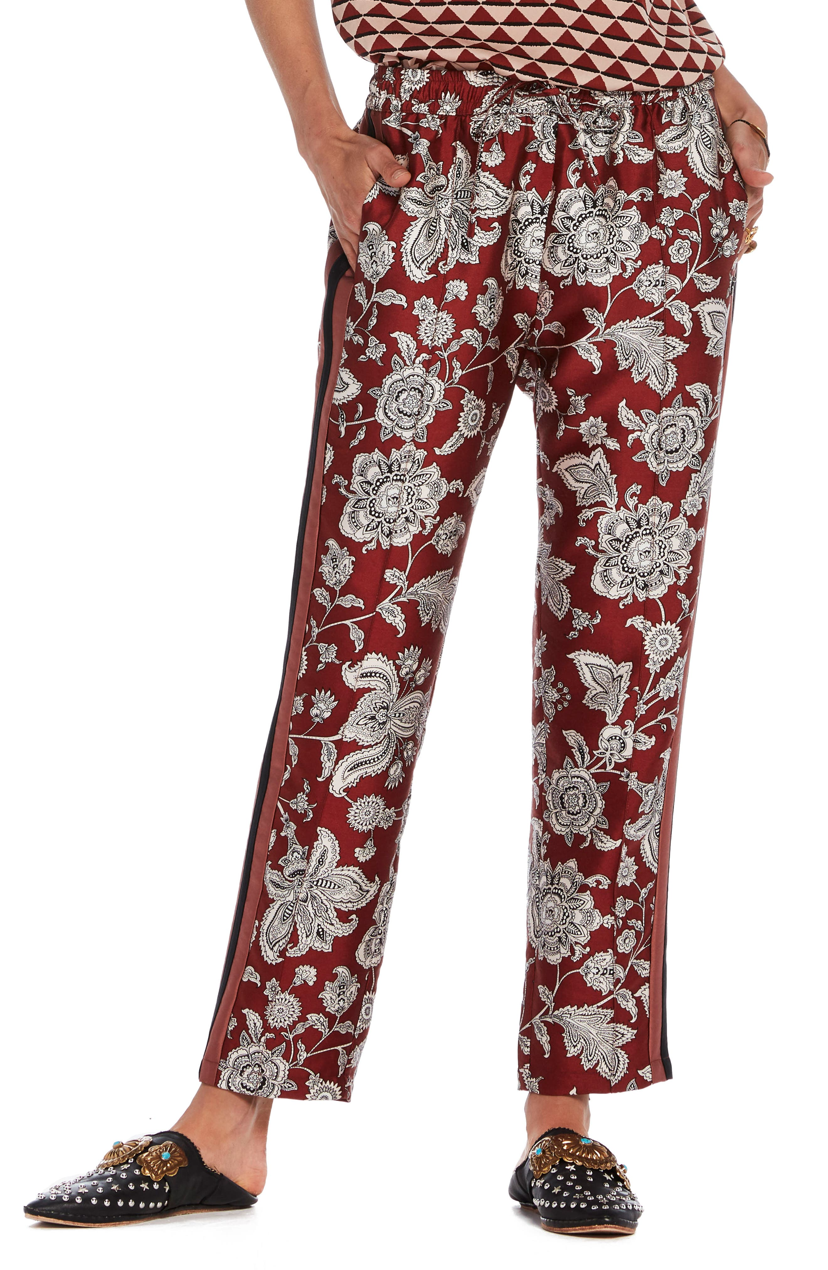 Print Satin Pants,                             Main thumbnail 1, color,
