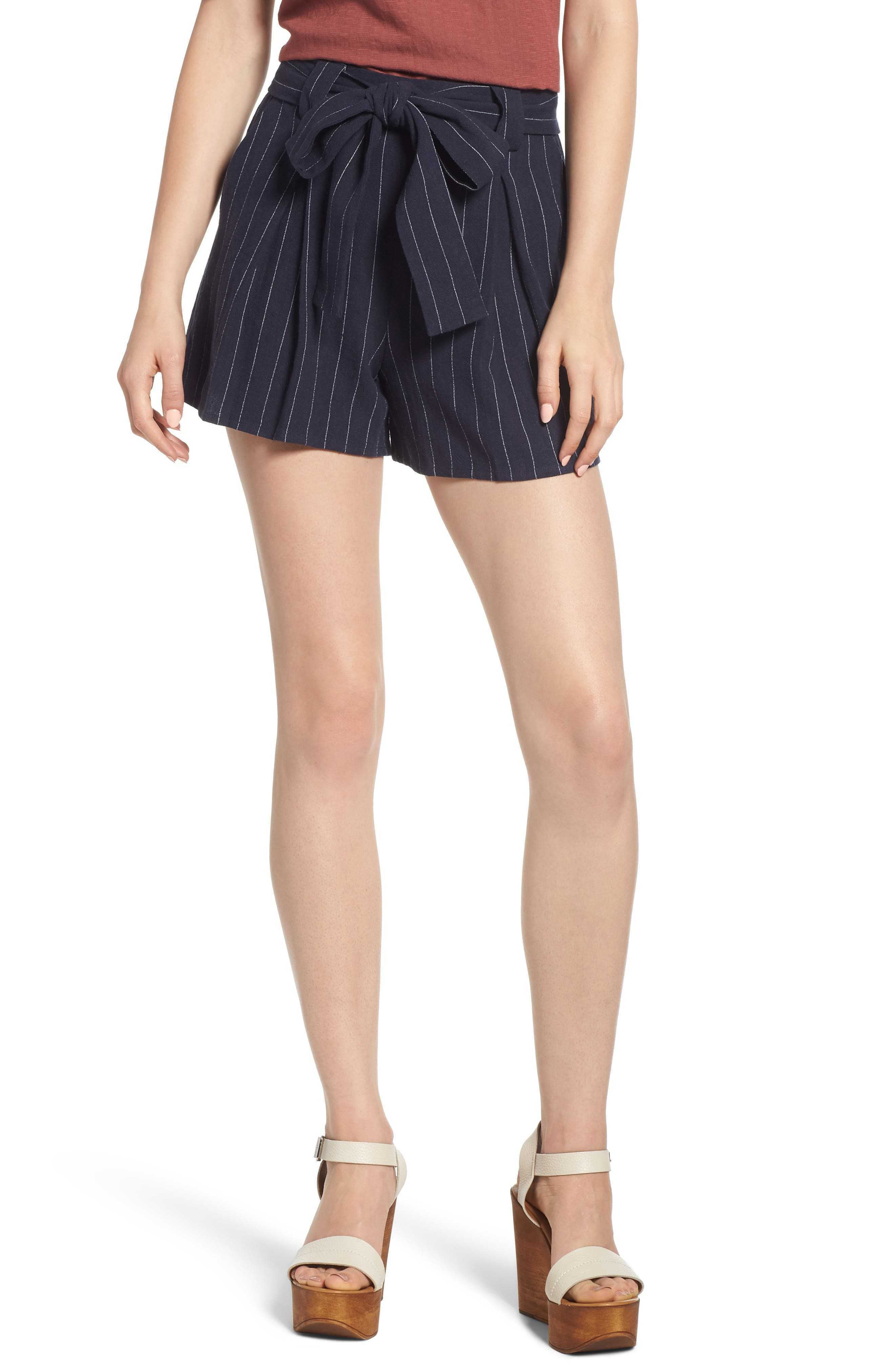 Stripe Tie Waist Shorts,                             Main thumbnail 1, color,                             BLUE STRIPE