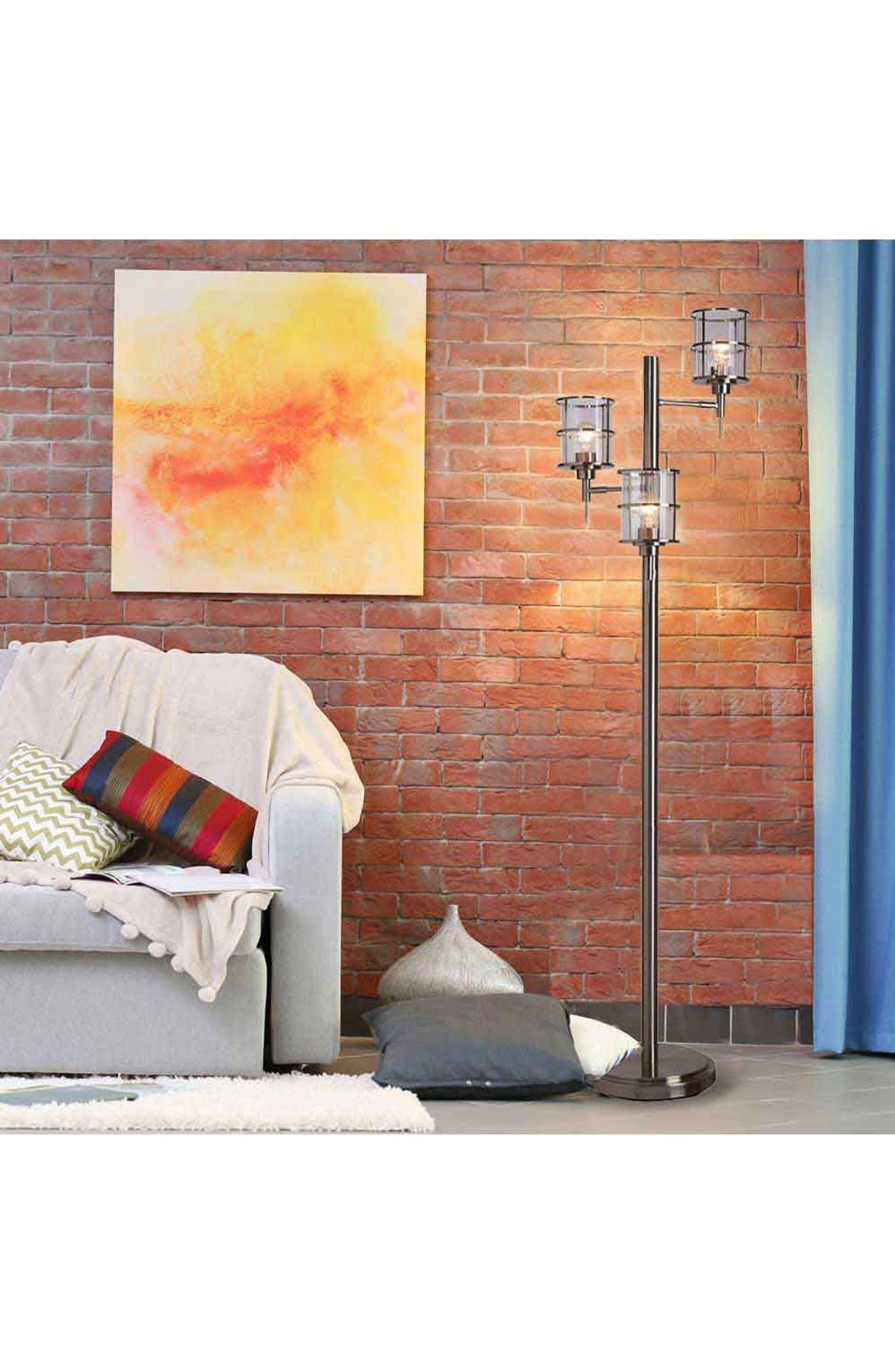 JAlexander Ribbed Glass 3-Head Floor Lamp,                             Alternate thumbnail 2, color,                             METALLIC SILVER