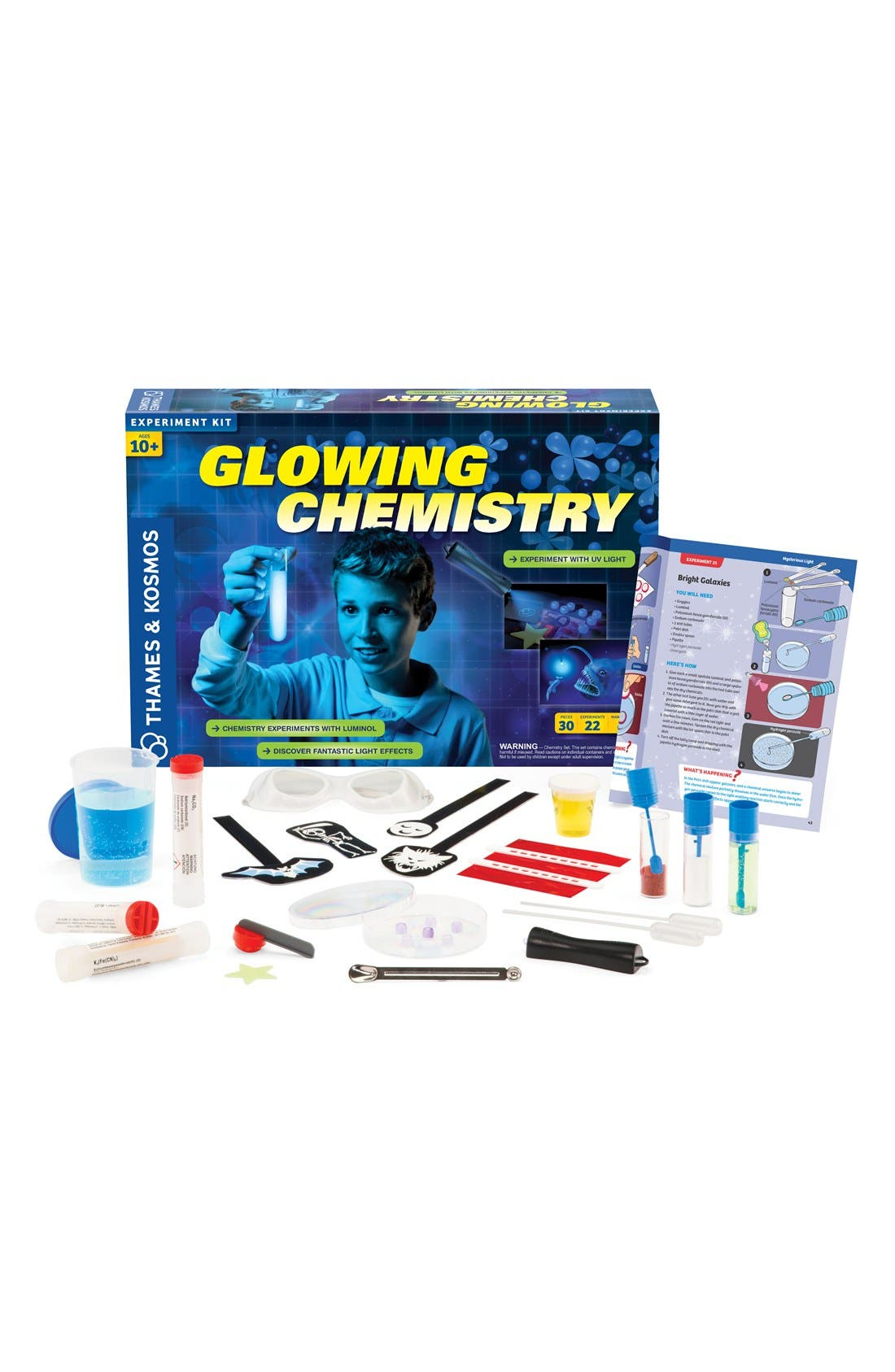 THAMES & KOSMOS 'Glowing Chemistry' Experiment Kit, Main, color, 000