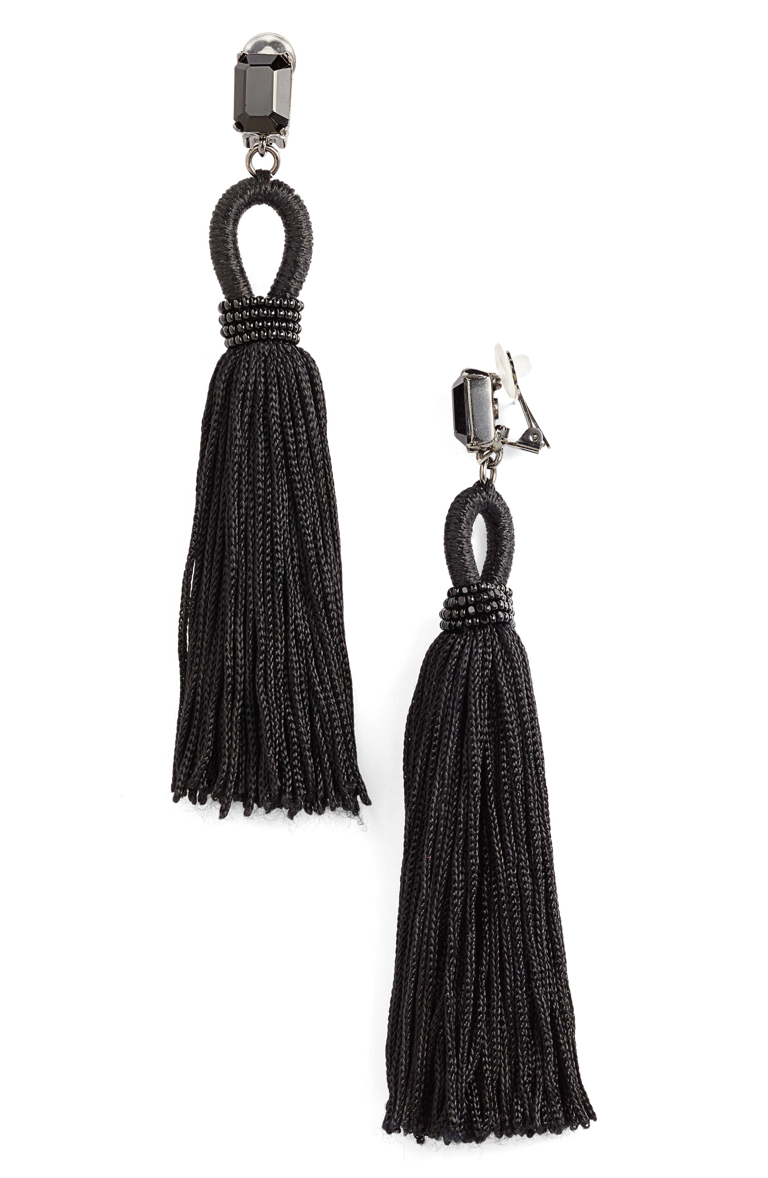 Long Silk Tassel Clip-On Earrings,                             Main thumbnail 1, color,                             001