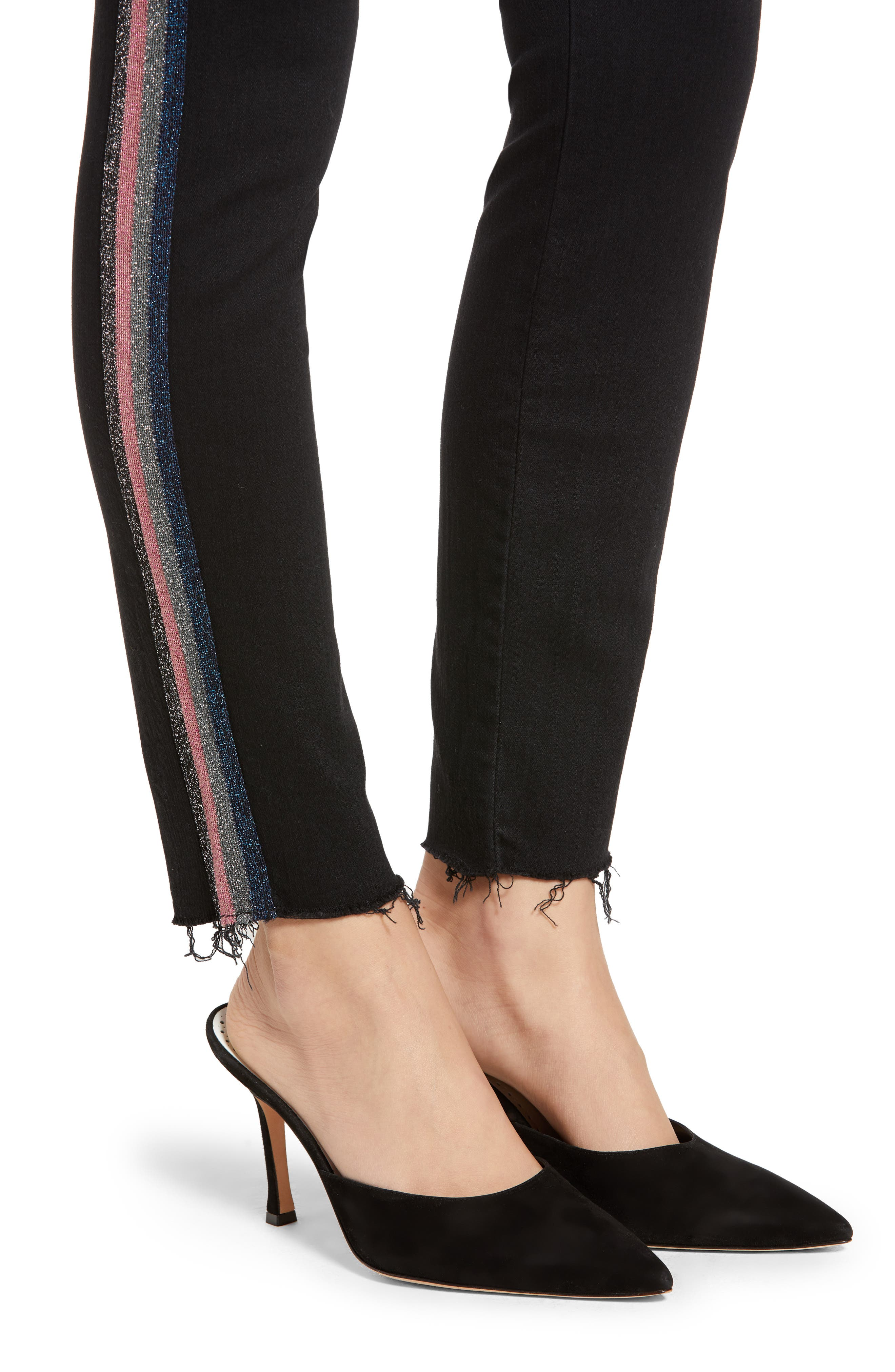 The Looker Frayed Ankle Jeans,                             Alternate thumbnail 4, color,                             GUILTY GLITTER RACER