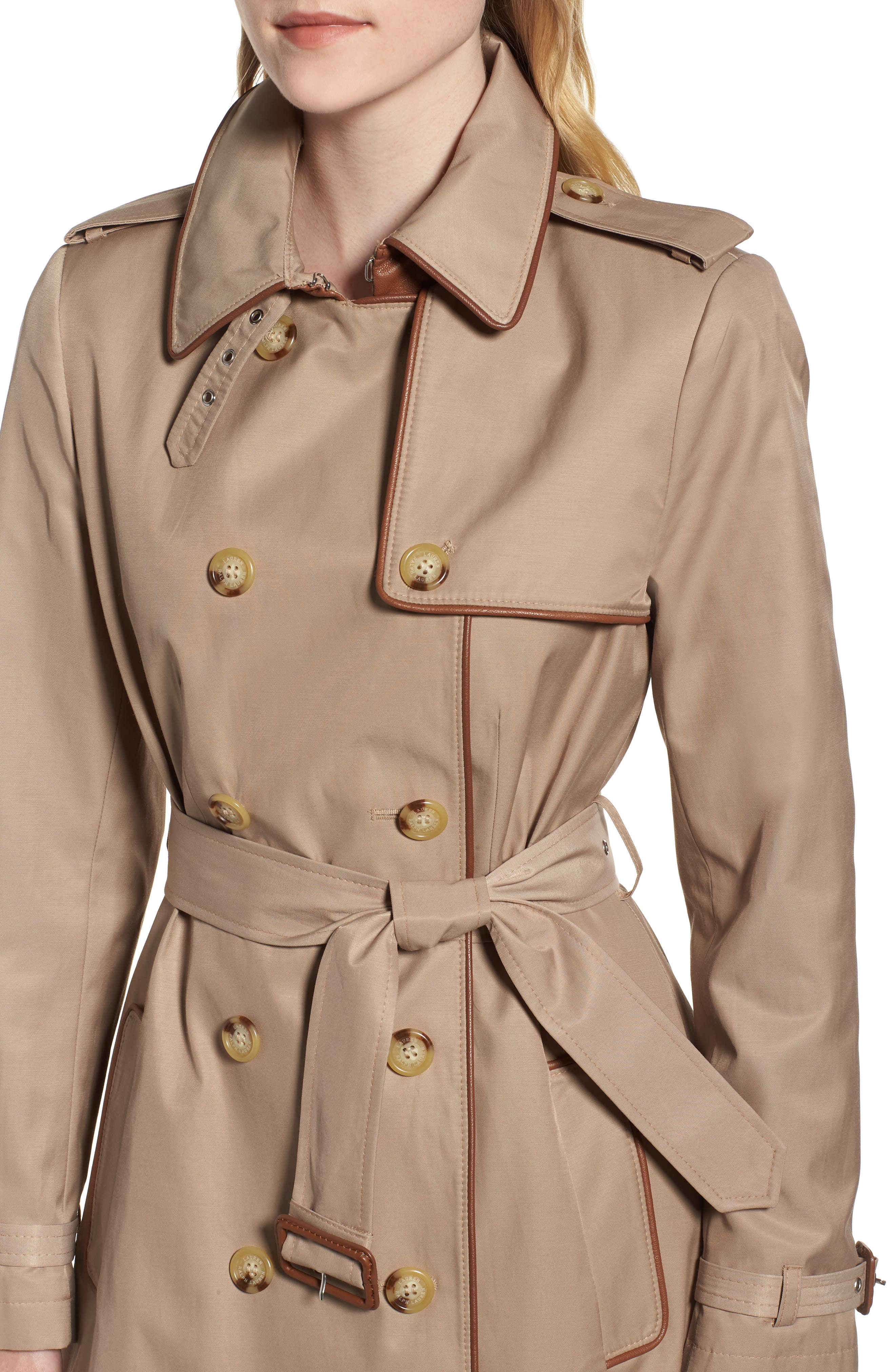 Faux Leather Trim Trench Coat,                             Alternate thumbnail 4, color,                             262