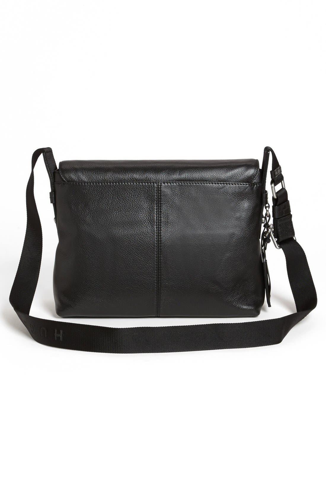 HUGO BOSS 'Barter' Leather Messenger Bag,                             Alternate thumbnail 2, color,                             001