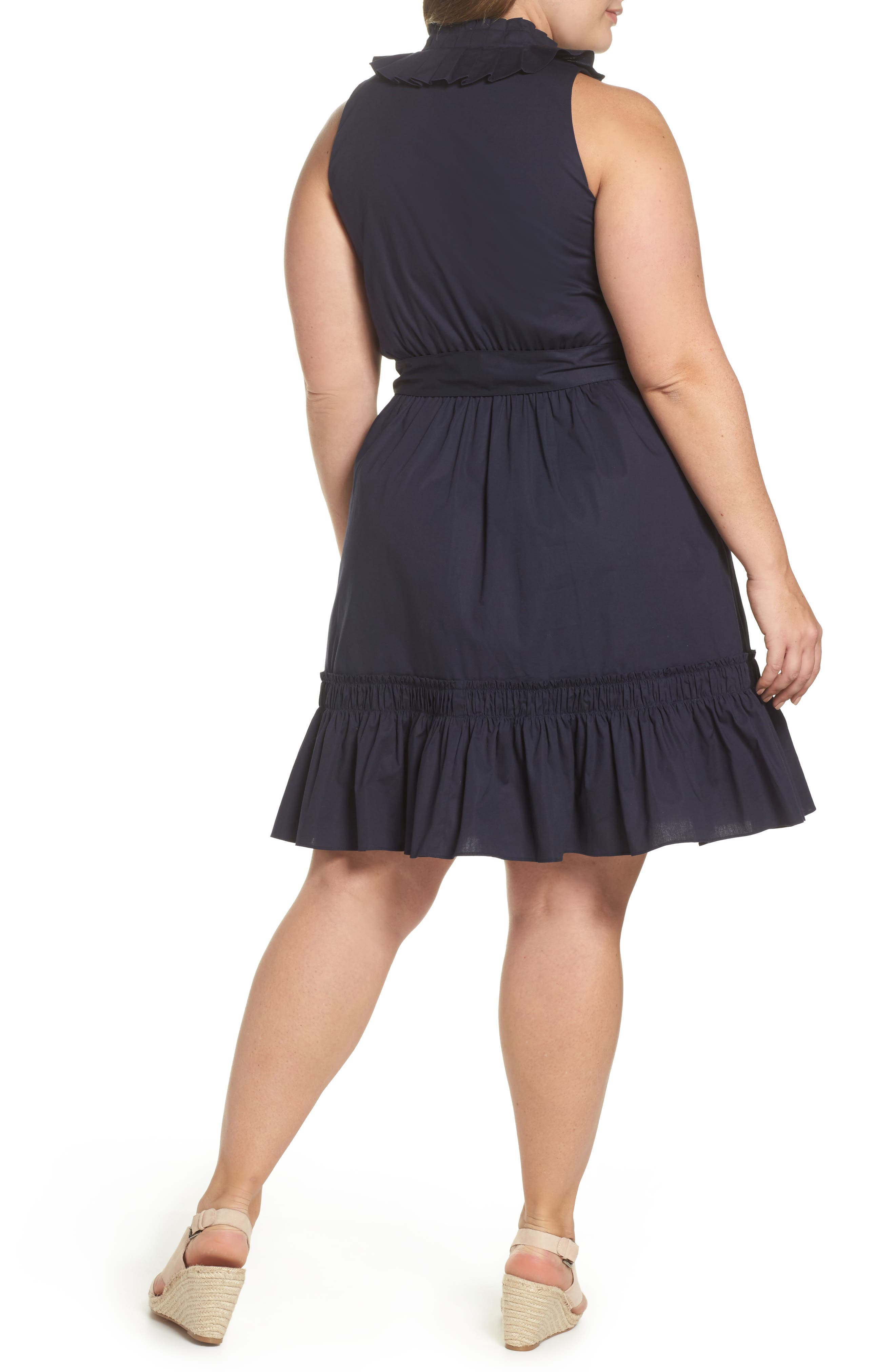 Pleat Collar Fit & Flare Dress,                             Alternate thumbnail 2, color,                             401
