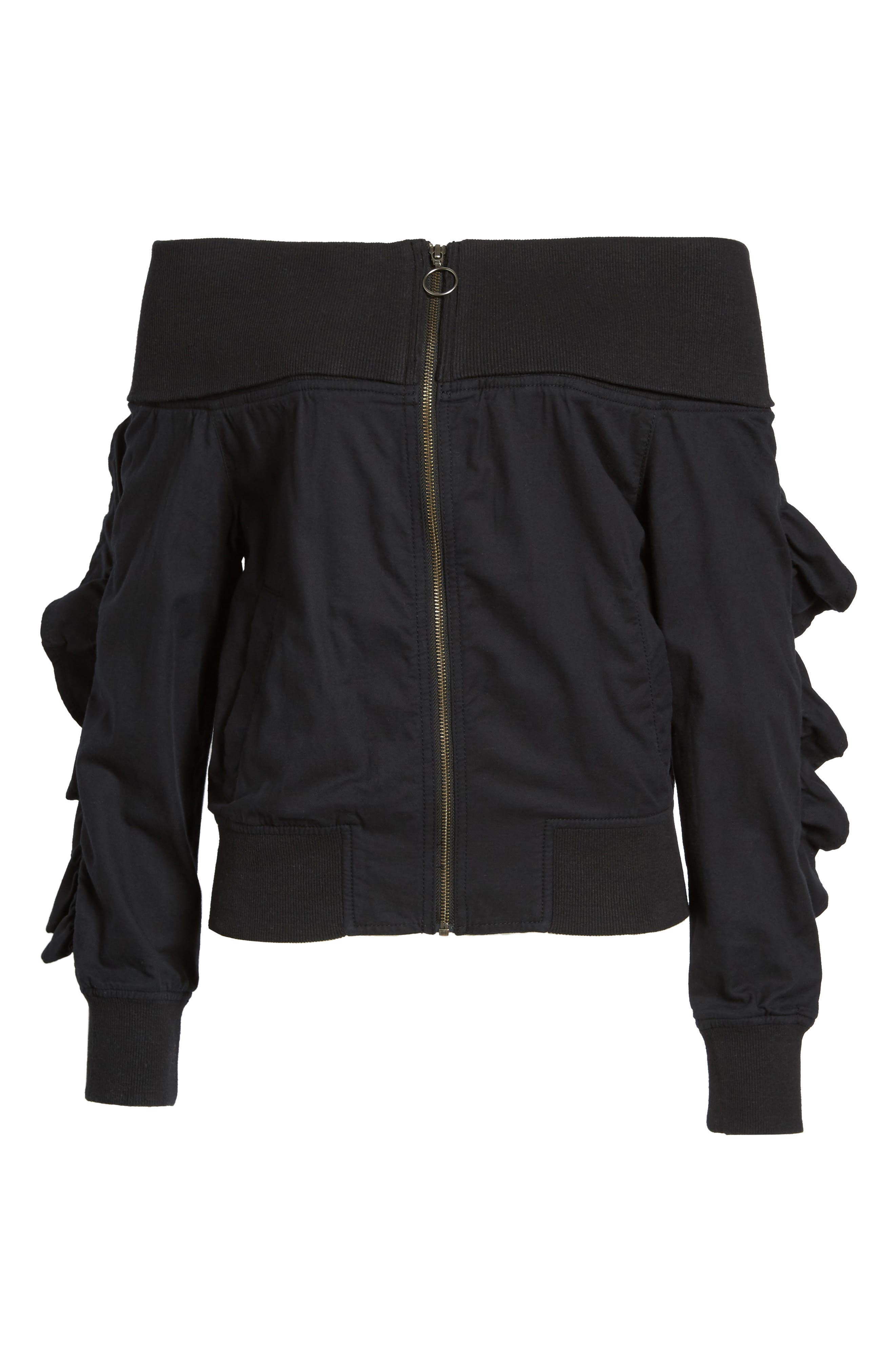 Ruffle Off the Shoulder Bomber,                             Alternate thumbnail 5, color,                             001