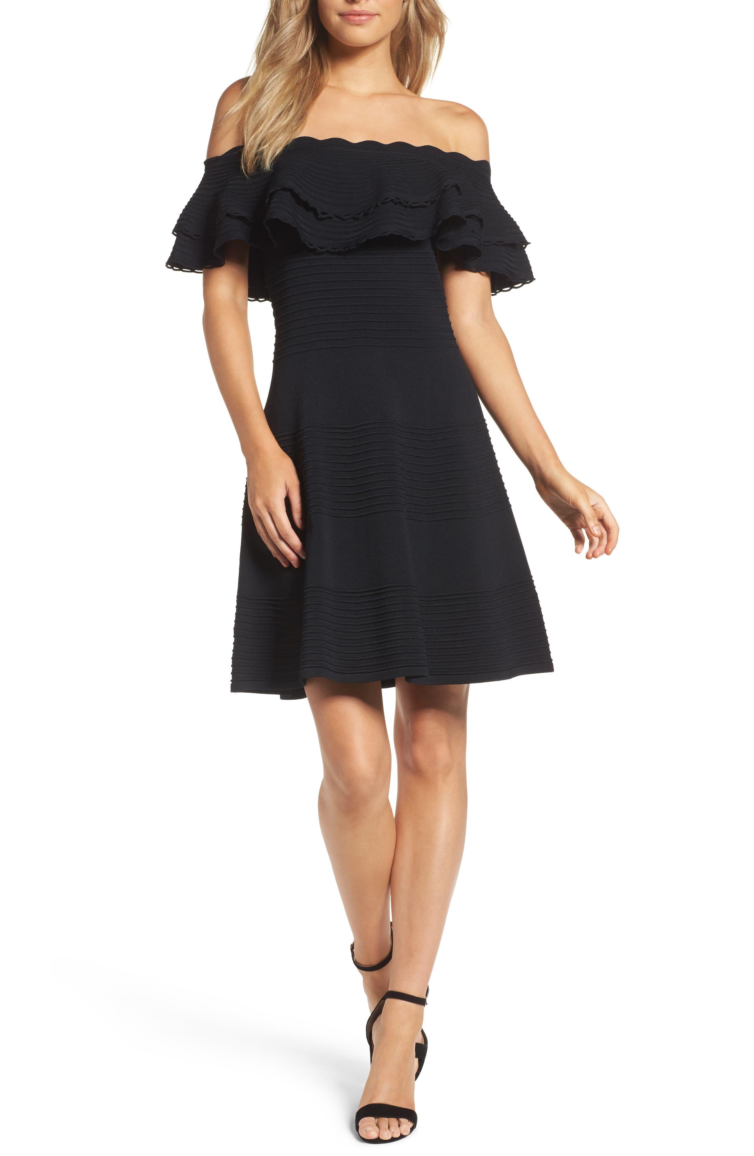 Eliza J Off The Shoulder Fit & Flare Dress, Black