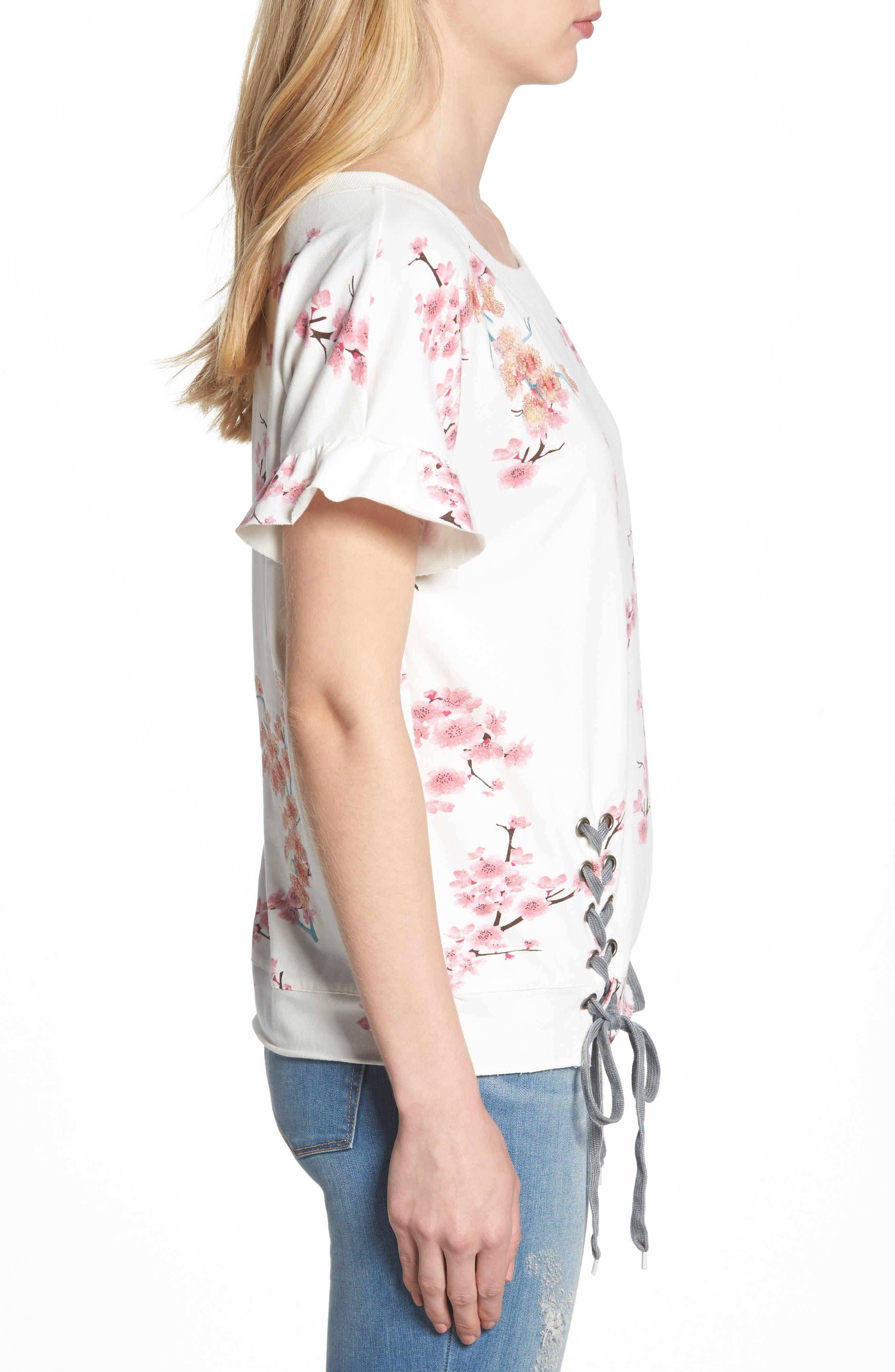 Cherry Blossom Short Sleeve Lace-Up Sweatshirt,                             Alternate thumbnail 3, color,                             WHITE CHERRY BLOSSOM
