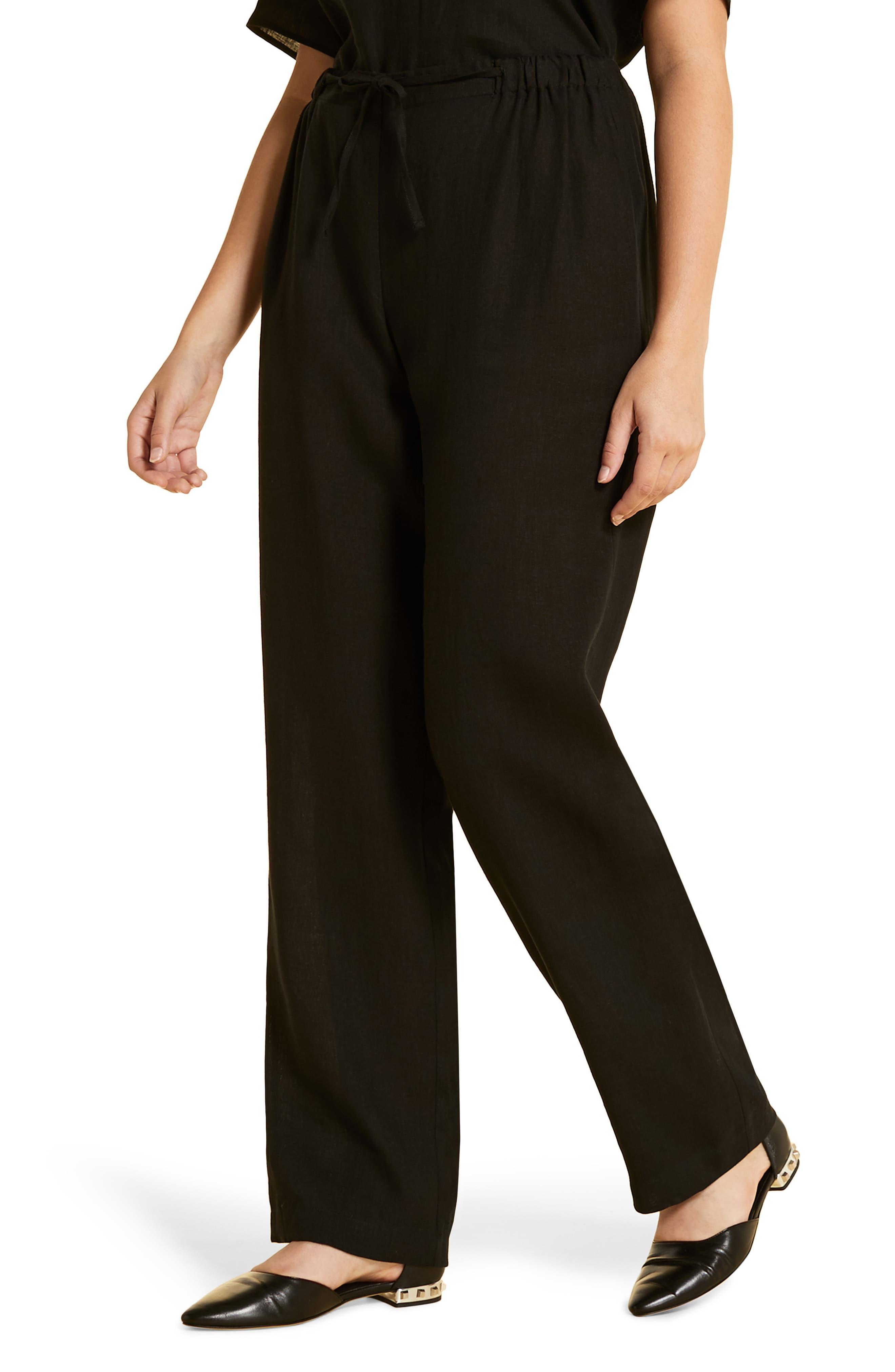 women's marina rinaldi linen wide leg trousers