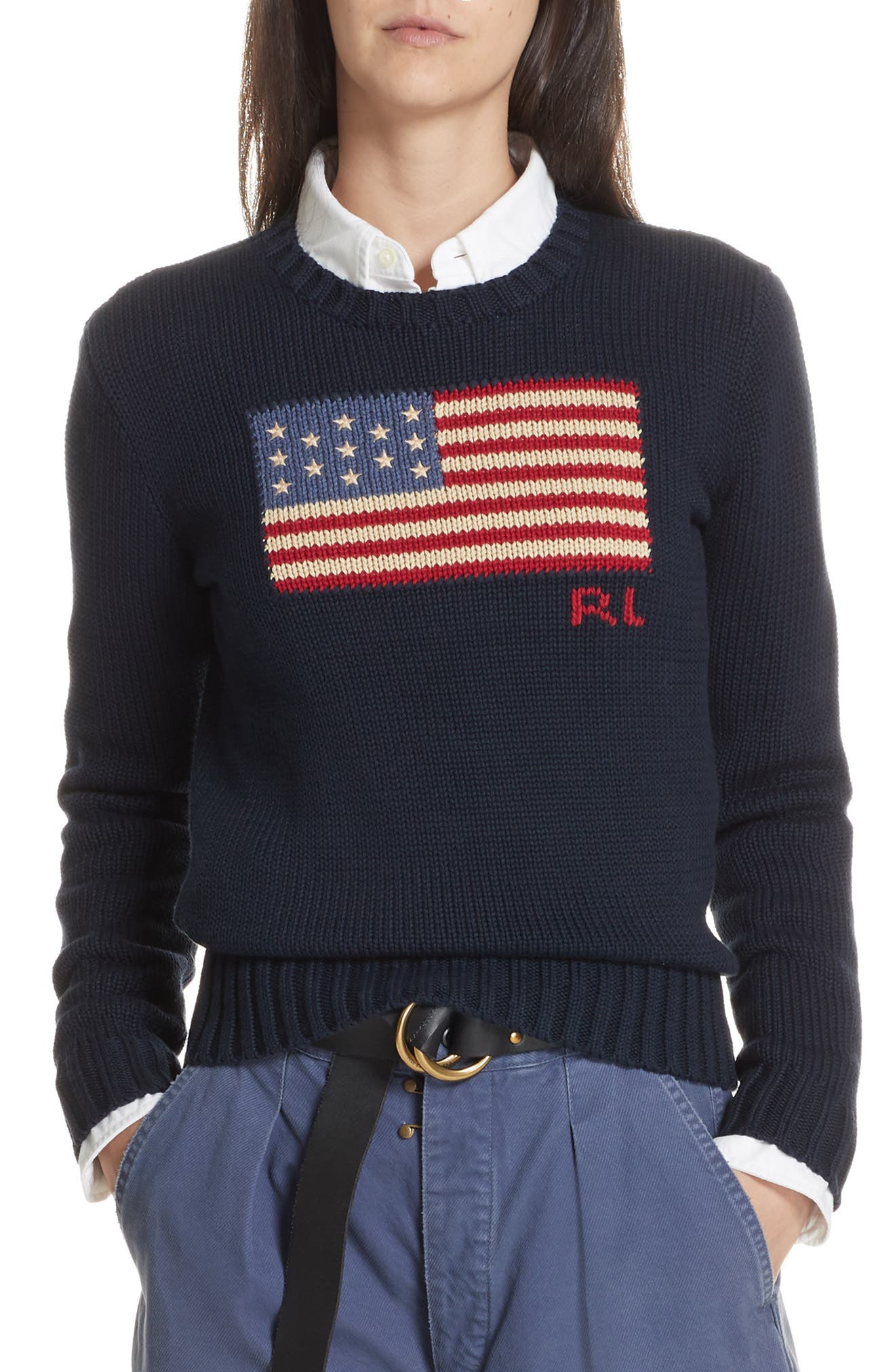 Flag Sweater,                         Main,                         color, HUNTER NAVY MULTI