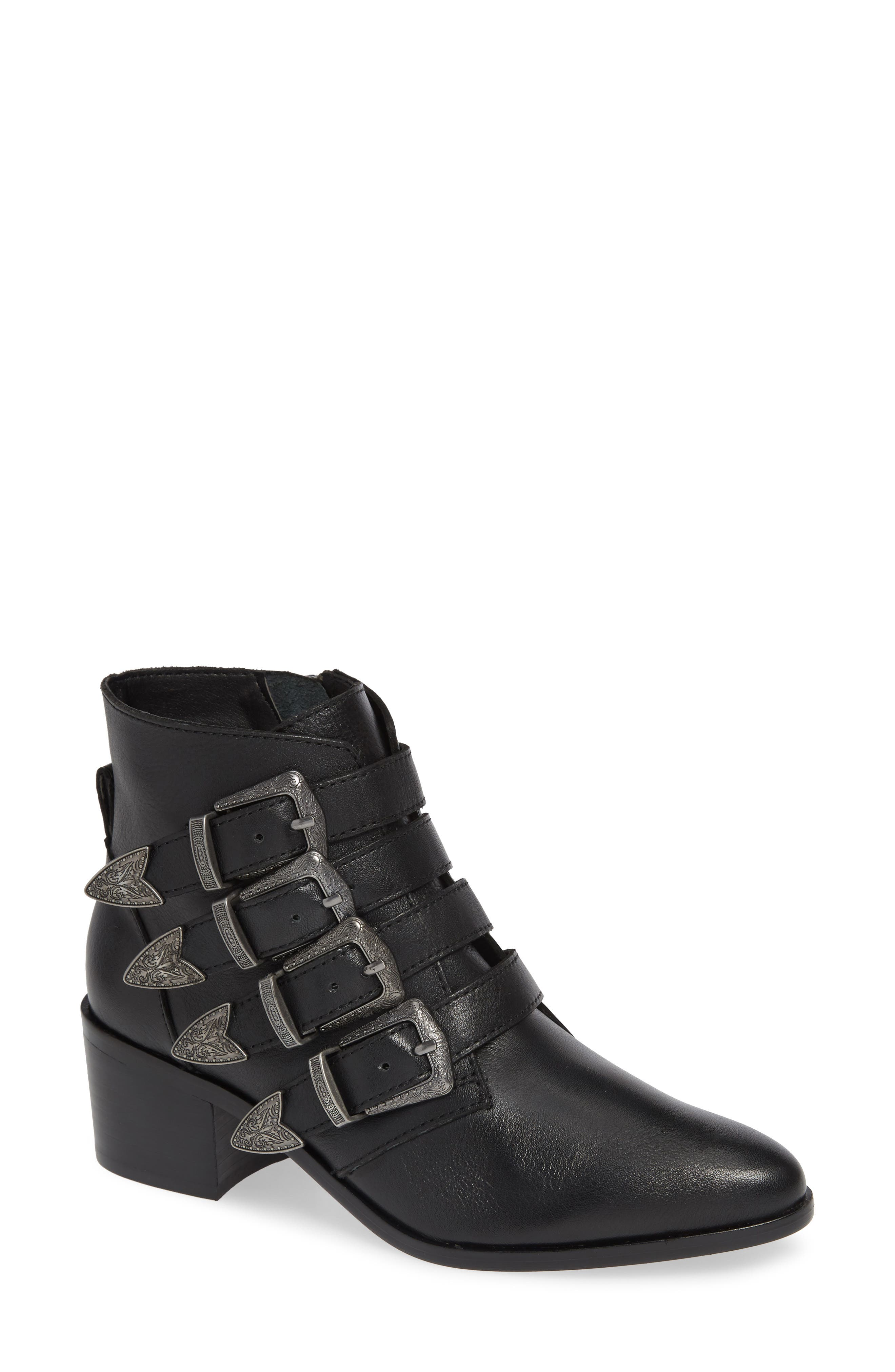 Billey Buckle Bootie,                             Main thumbnail 1, color,                             BLACK LEATHER