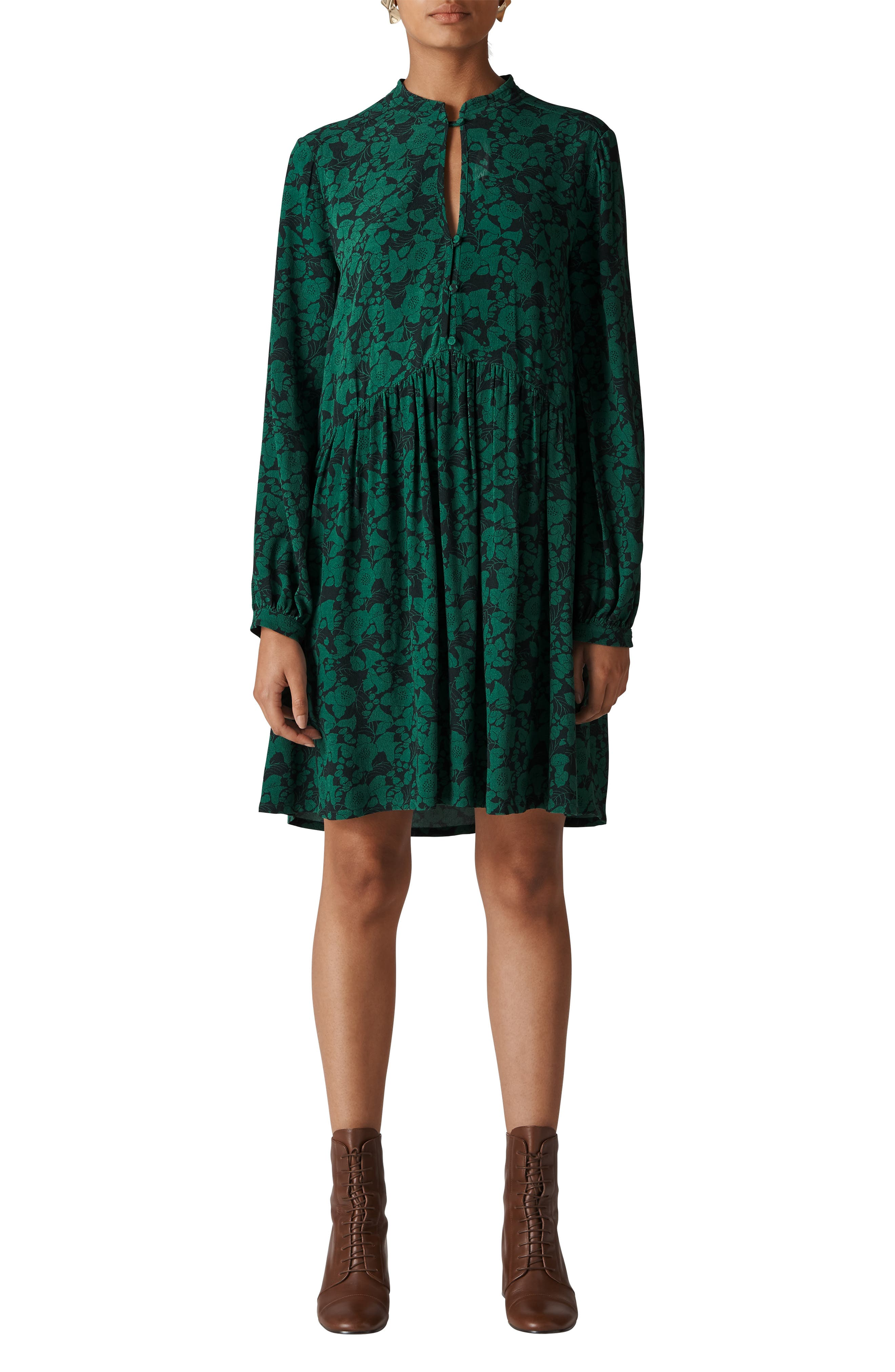 Deco Floral Print Shirtdress,                             Main thumbnail 1, color,                             GREEN/ MULTI