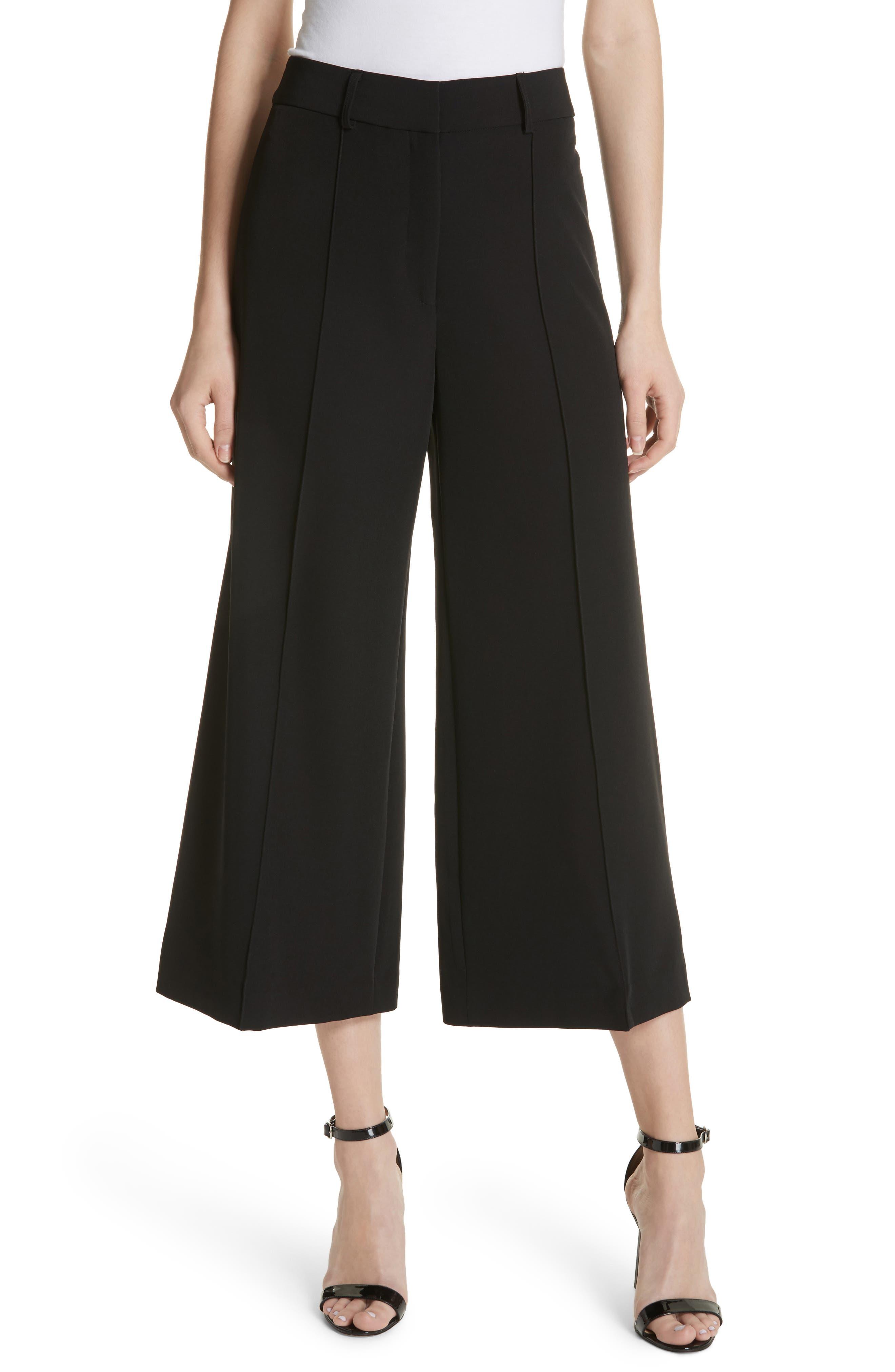 Hayden Crop Wide Leg Pants,                             Main thumbnail 1, color,                             BLACK