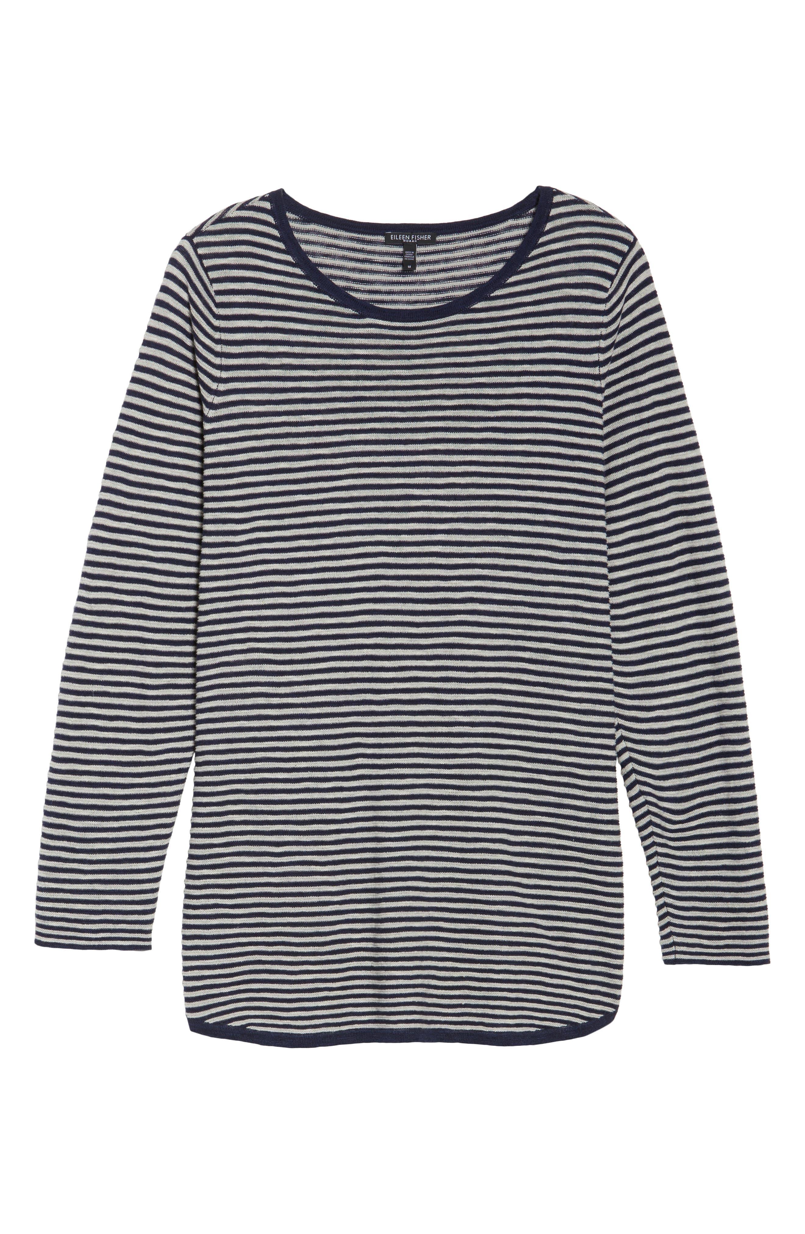 Stripe Organic Linen & Cotton Sweater,                             Alternate thumbnail 12, color,