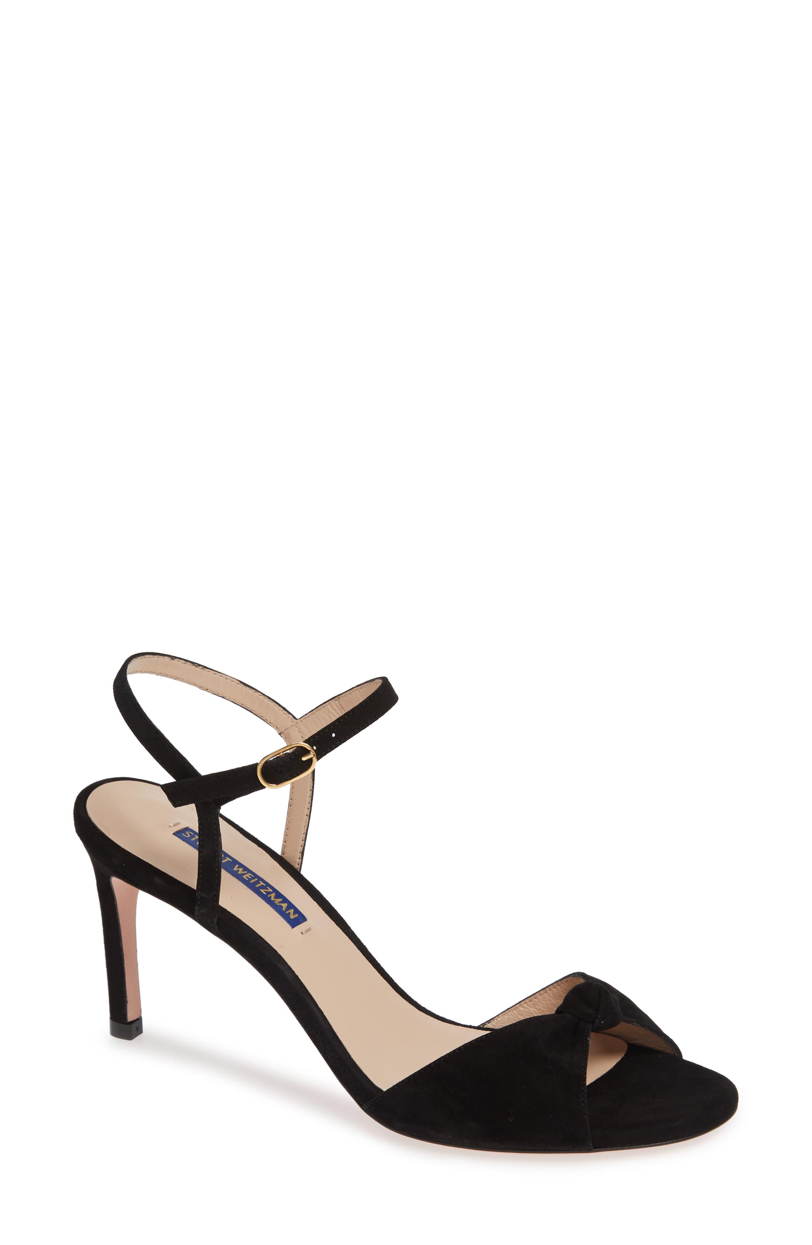 STUART WEITZMAN Gloria Quarter Strap Sandal, Main, color, BLACK SUEDE