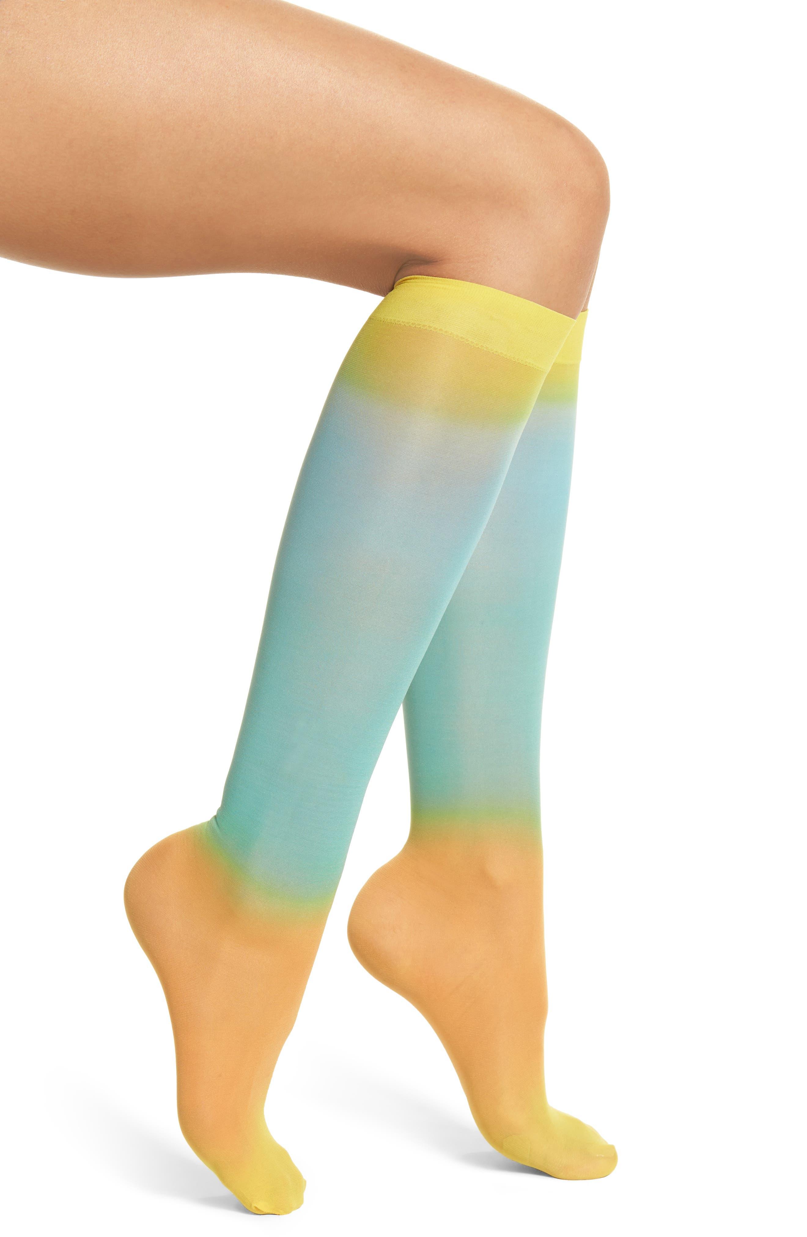HYSTERIA BY HAPPY SOCKS,                             Mia Print Knee High Socks,                             Main thumbnail 1, color,                             449